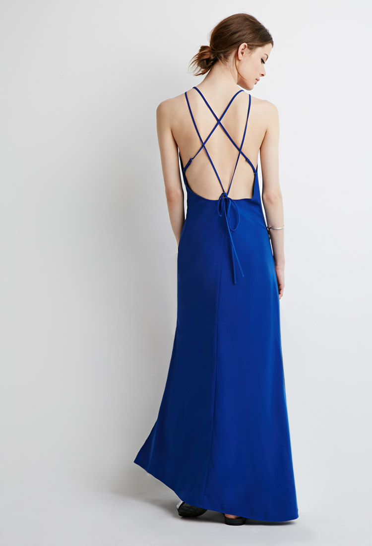 Lyst - Forever 21 Strappy Halter Maxi Dress in Blue