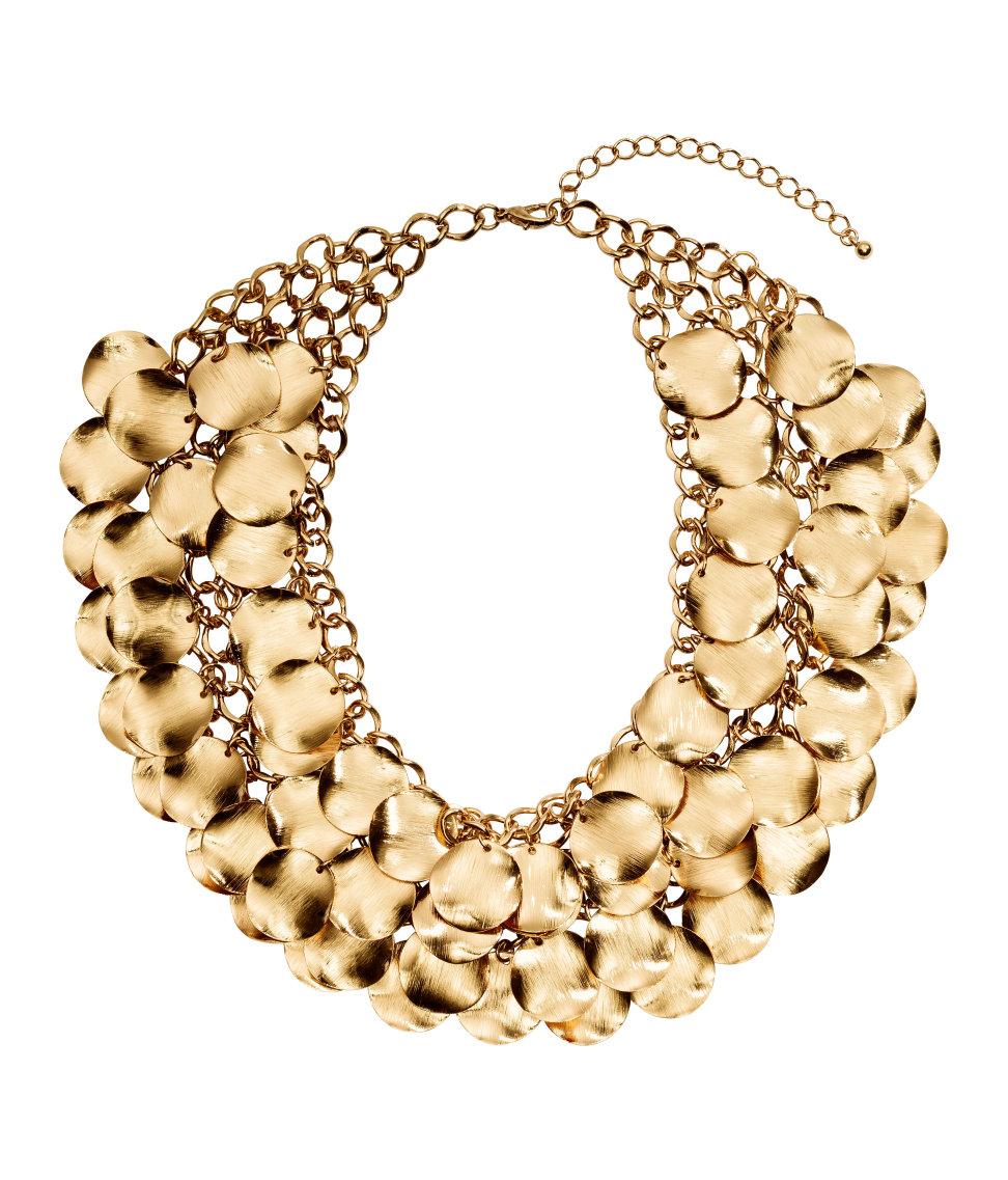 H&m Wide Necklace In Metallic  Lyst. Elven Rings. Vintage Pearl Bracelet. Sea Glass Engagement Rings. Jasper Pendant. Brilliant Cut Diamond Rings. Pink Heart Rings. Gold Bangle Bracelet With Clasp. Custom Bangles