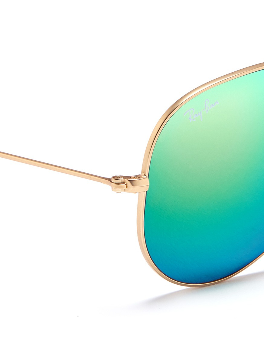 ray ban mirrored aviator sunglasses blue green  new ray ban blue/green mirrored 58mm sunglass; gallery