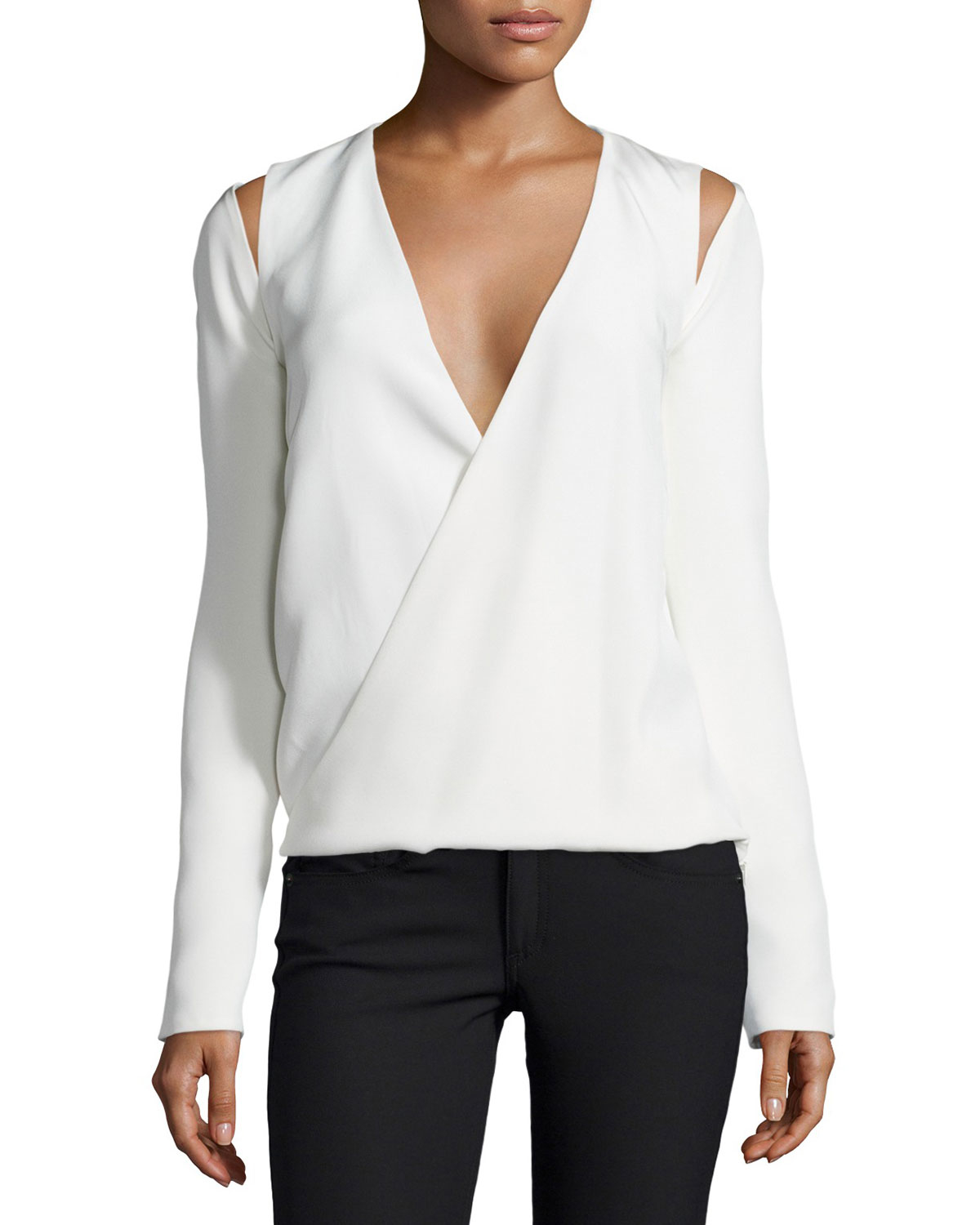 Kaufman franco Long-Sleeve Wrap Blouse in White | Lyst