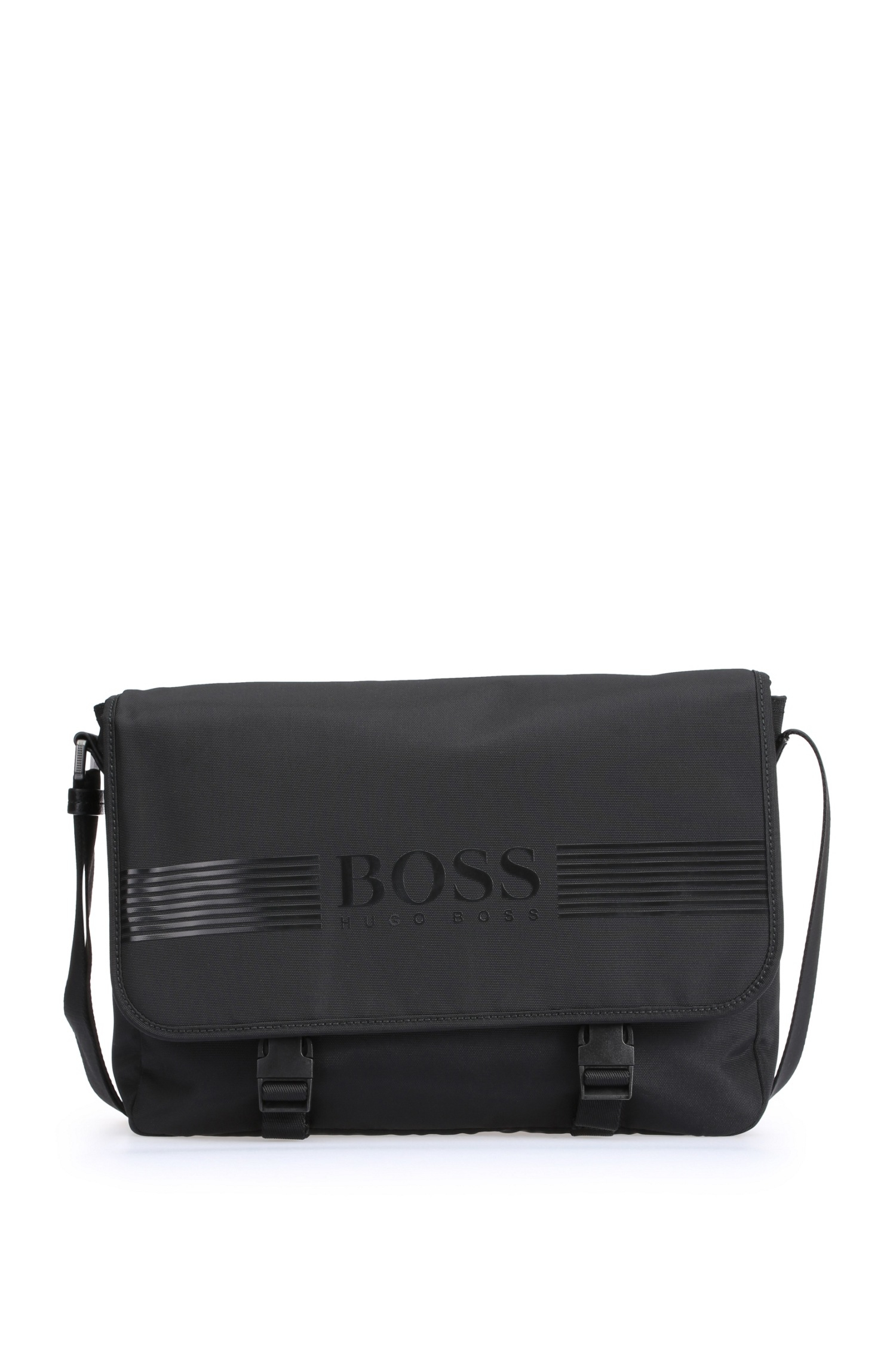 013a11c640b3 BOSS Green Messenger Bag In Nylon Mix: 'pixel_mess Flap' in Black ...