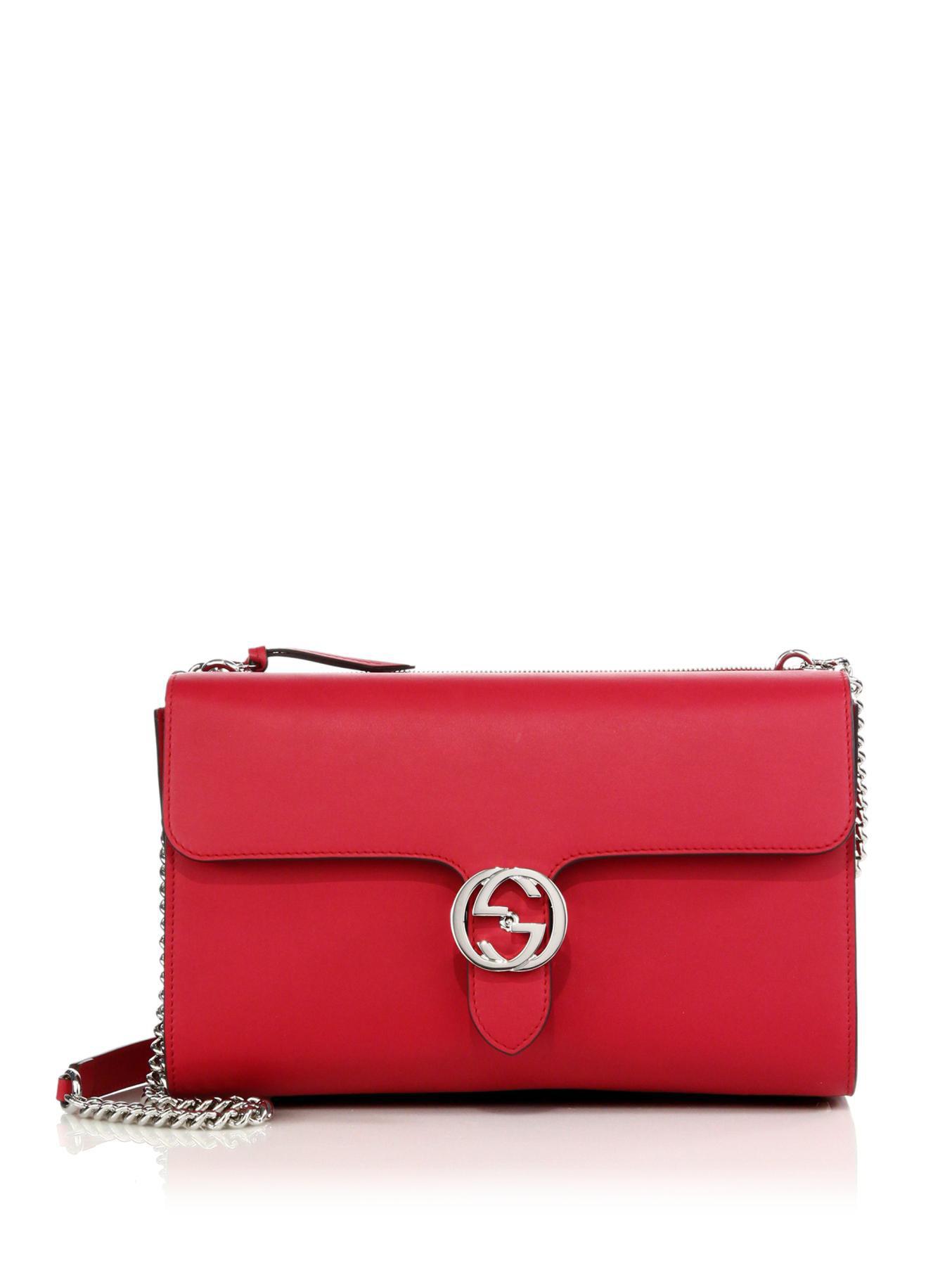 Gucci Interlocking Leather Shoulder Bag In Red Lyst