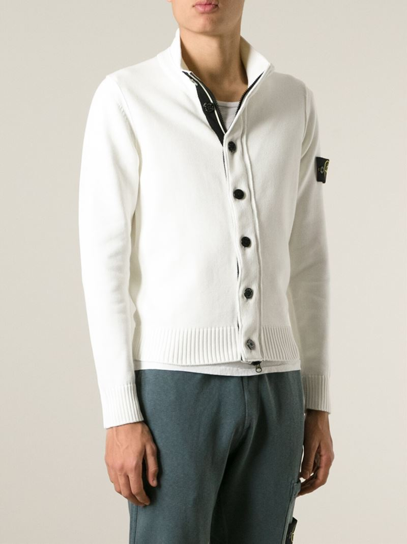 Stone island Zip And Button Cardigan in White for Men | Lyst