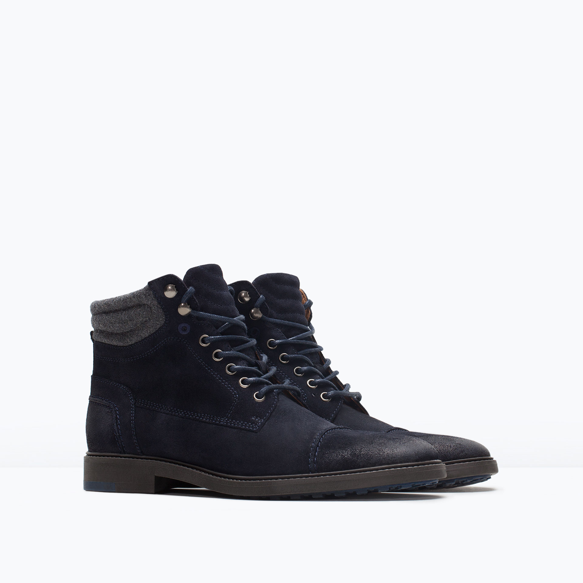 zara suede worker boot suede worker boot in blue for