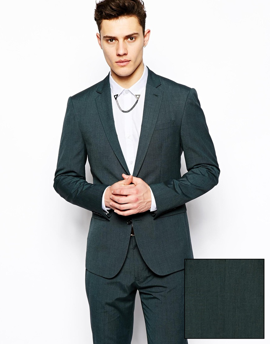 Asos Slim Fit Suit Jacket in Colored Pindot in Green for Men | Lyst
