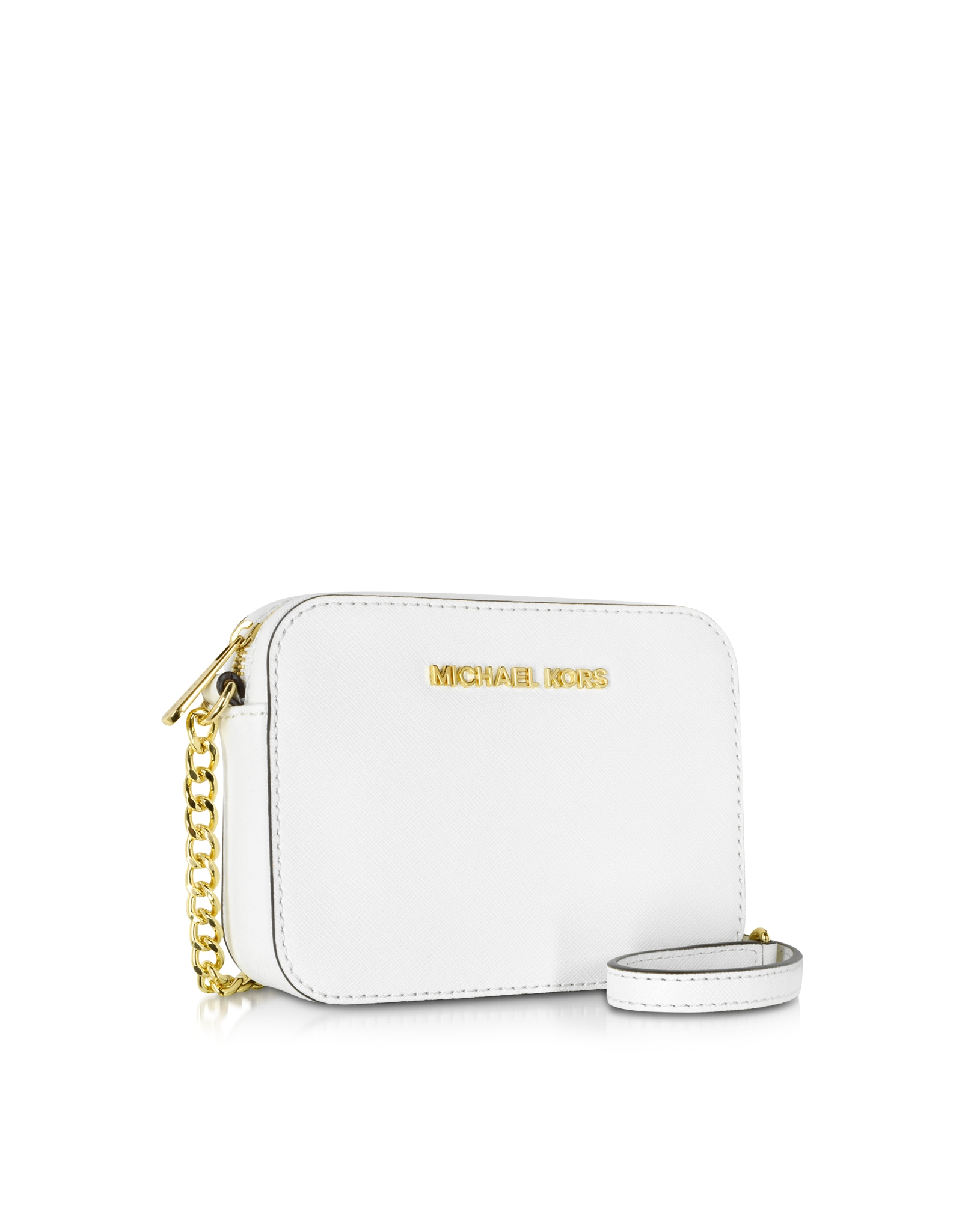 8eb9f949ec9d Michael Kors Jet Set Travel Small Saffiano Leather Crossbody in White - Lyst