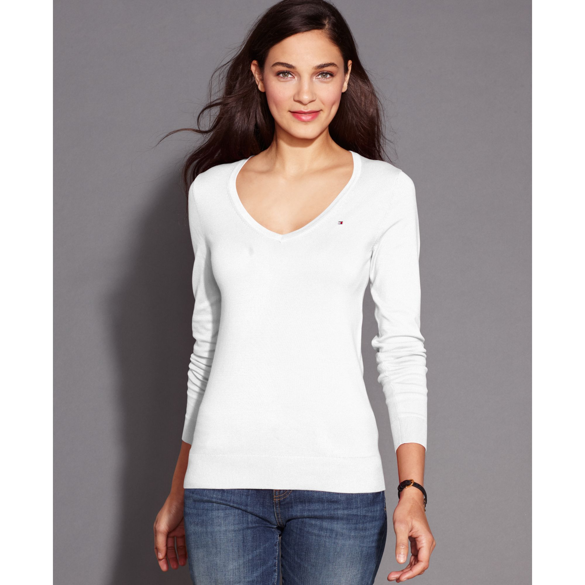 Tommy hilfiger Longsleeve Vneck Sweater in White | Lyst