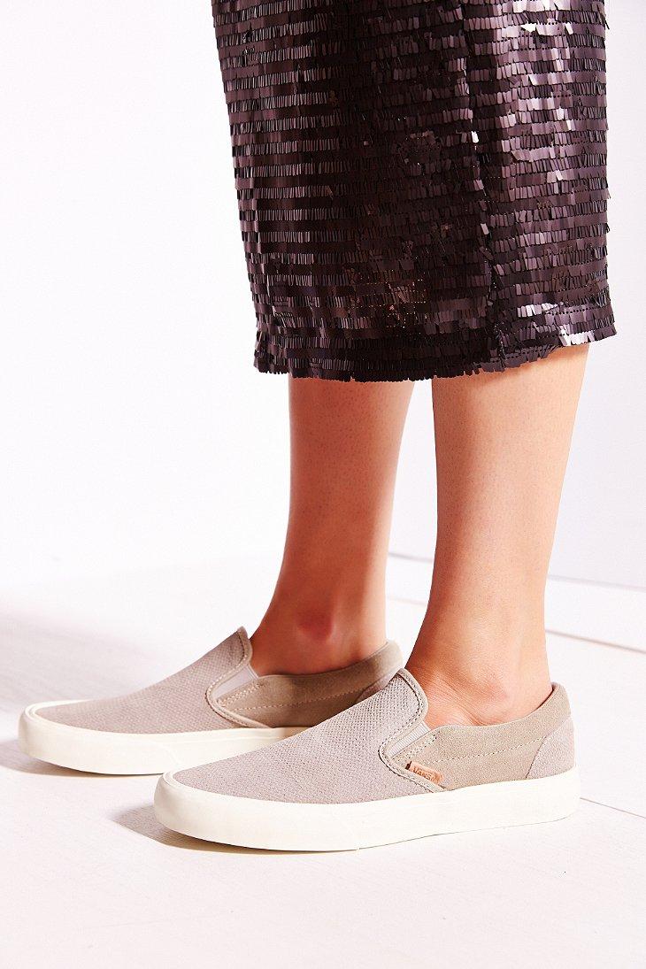 8ea574be0dc Lyst - Vans Classic Knit Suede Slip-on Women s Sneaker in Gray