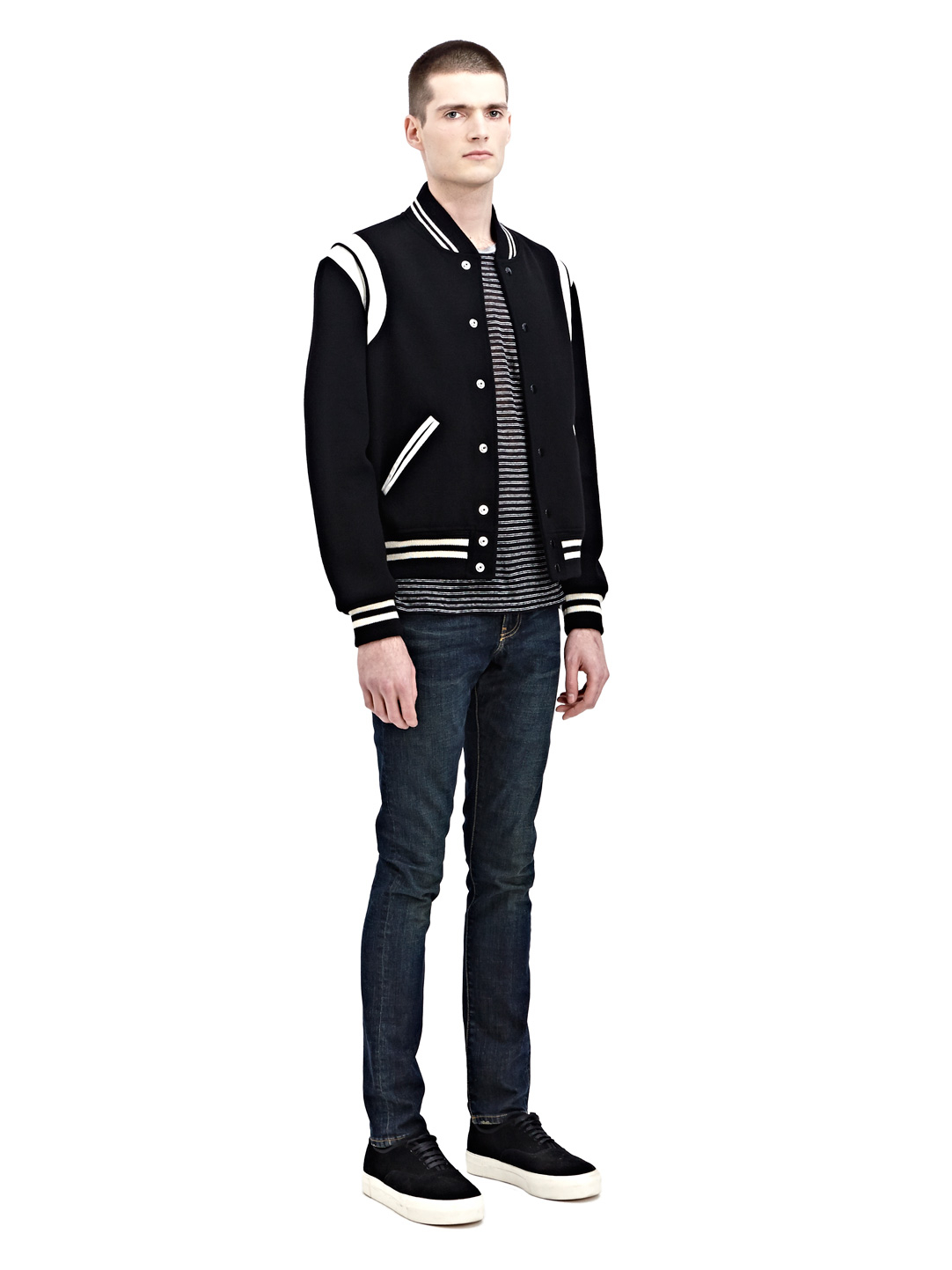 Saint Laurent New Season Mens Wool Teddy Varsity Jacket