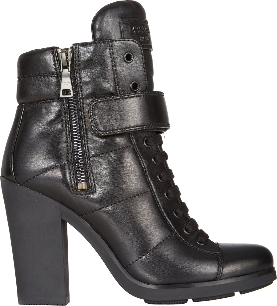 Lyst - Prada Lace-Up Strapped Ankle Boots in Black