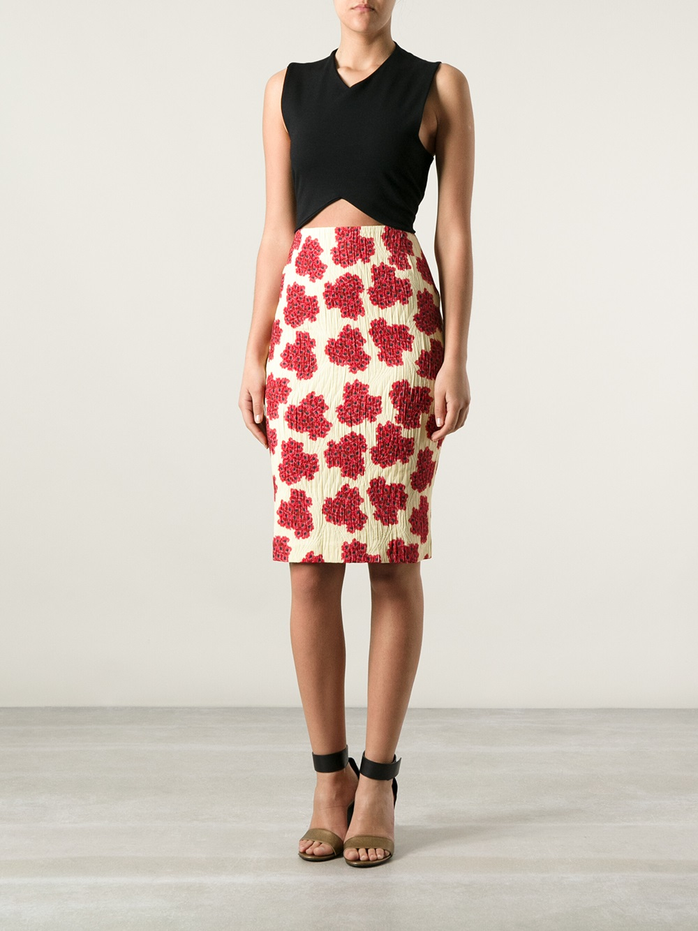 Andrea Incontri Floral Pencil Skirt In Red Lyst
