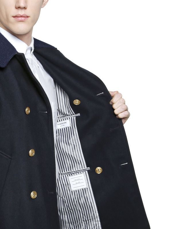 c58d01fa5f Thom Browne Double Breasted Wool Peacoat in Blue for Men - Lyst