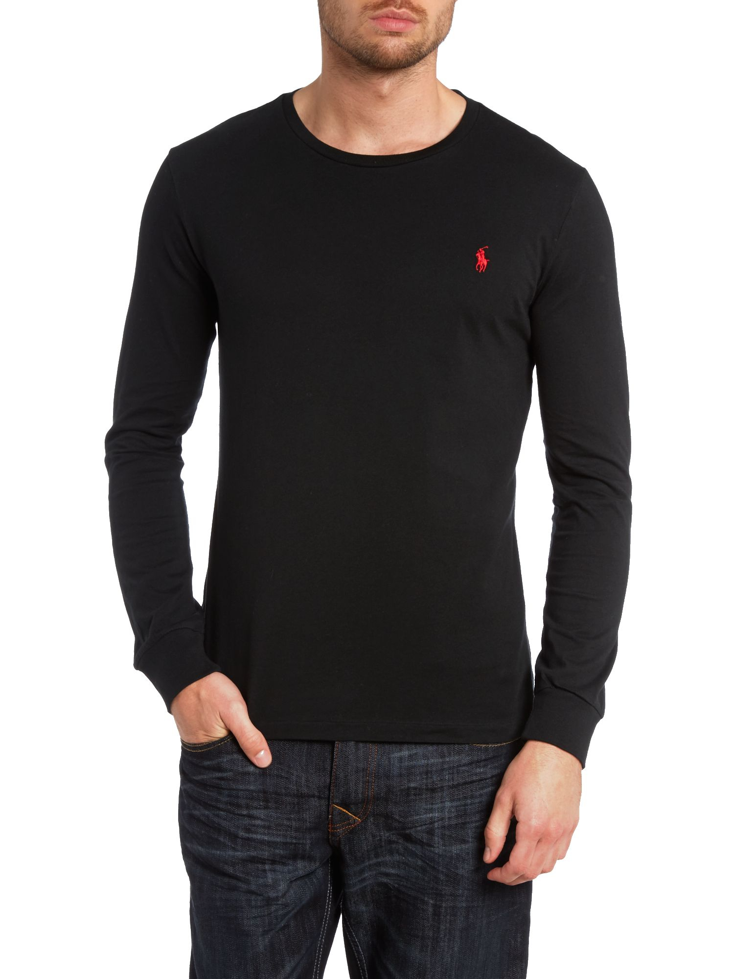 Ralph lauren crew neck t shirt black ralph lauren slip on for Crew neck sweater with collared shirt
