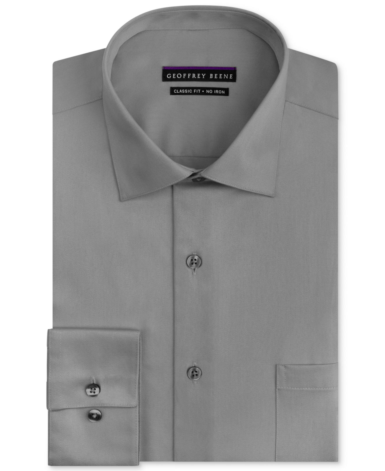 58d1515e494 Geoffrey beene Men s Classic fit Wrinkle free Sateen Dress Shirt in Silver  for Men (. Geoffrey beene Men s. Geoffrey beene Men s Fitted No iron Stretch  ...