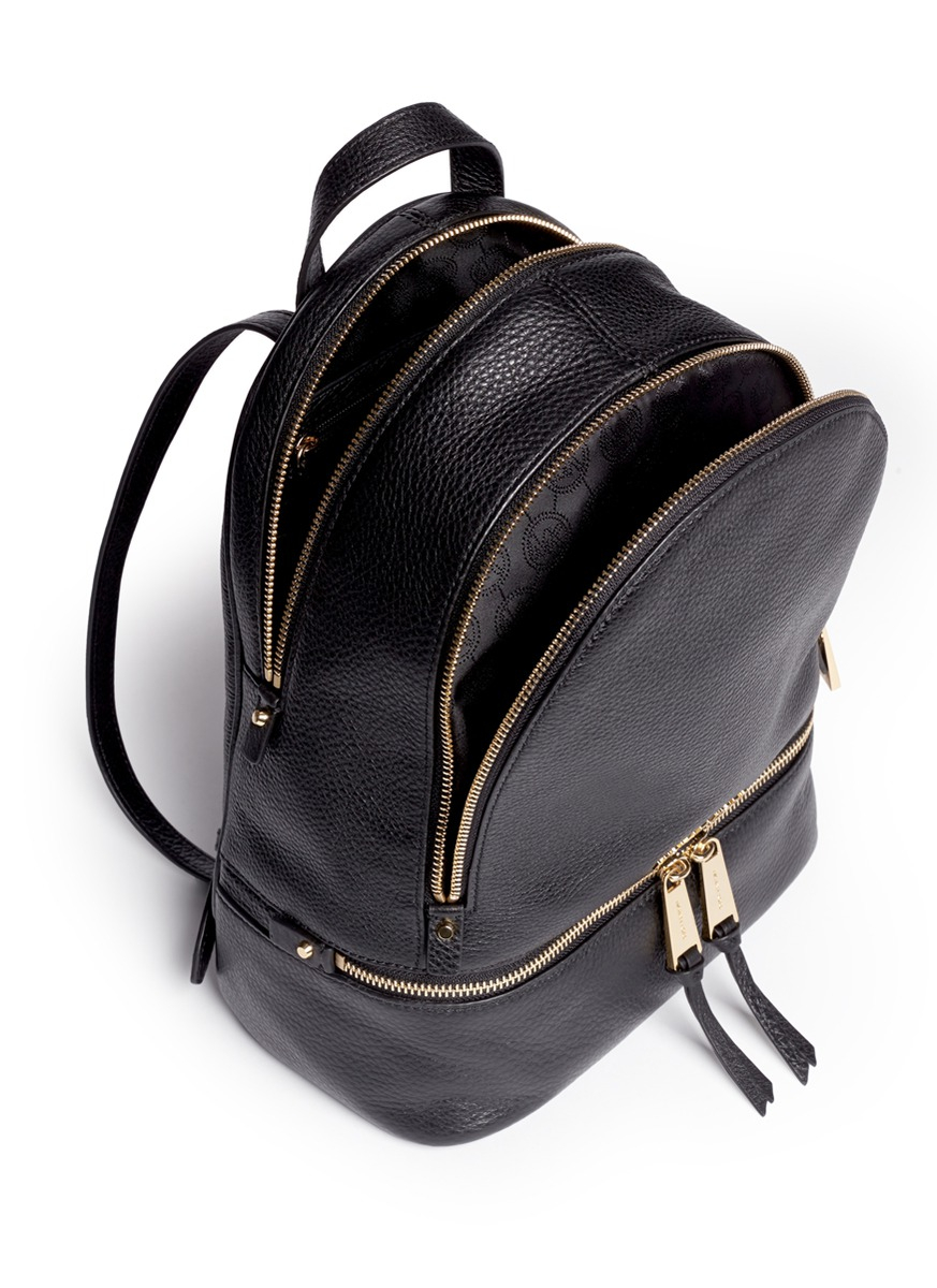 michael kors 39 rhea 39 small 18k gold plated leather backpack in black lyst. Black Bedroom Furniture Sets. Home Design Ideas