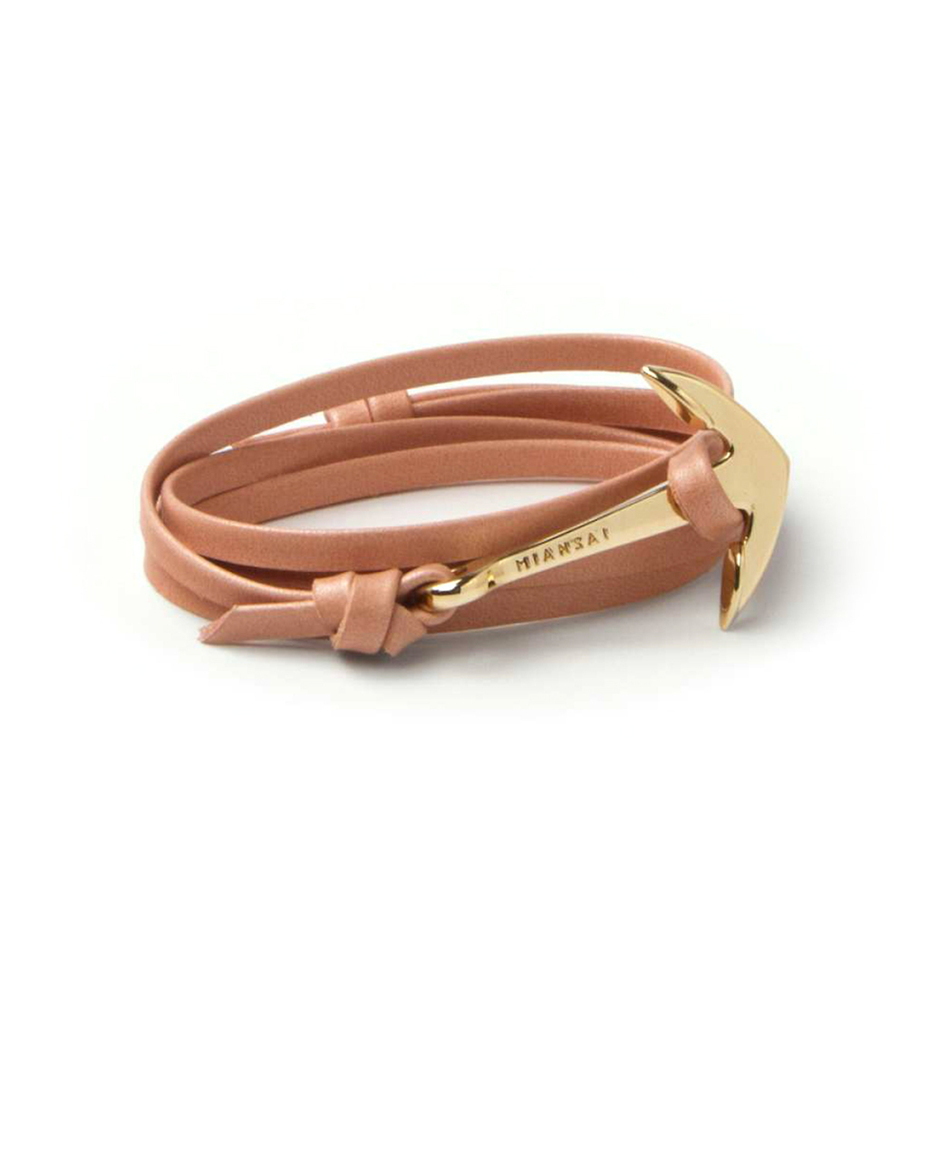miansai gold anchor and salmon leather wrap bracelet in