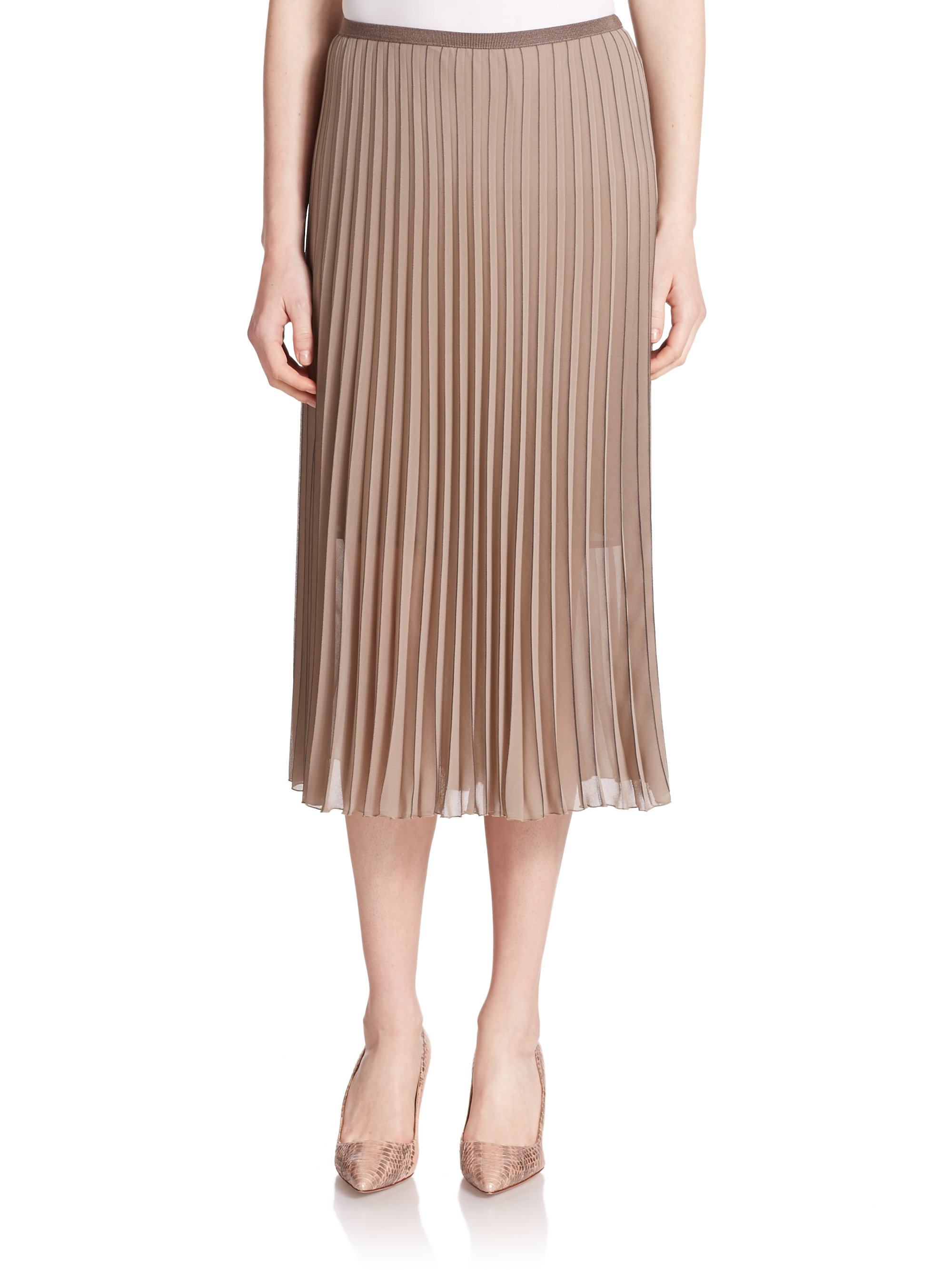 peserico pleated skirt in brown lyst