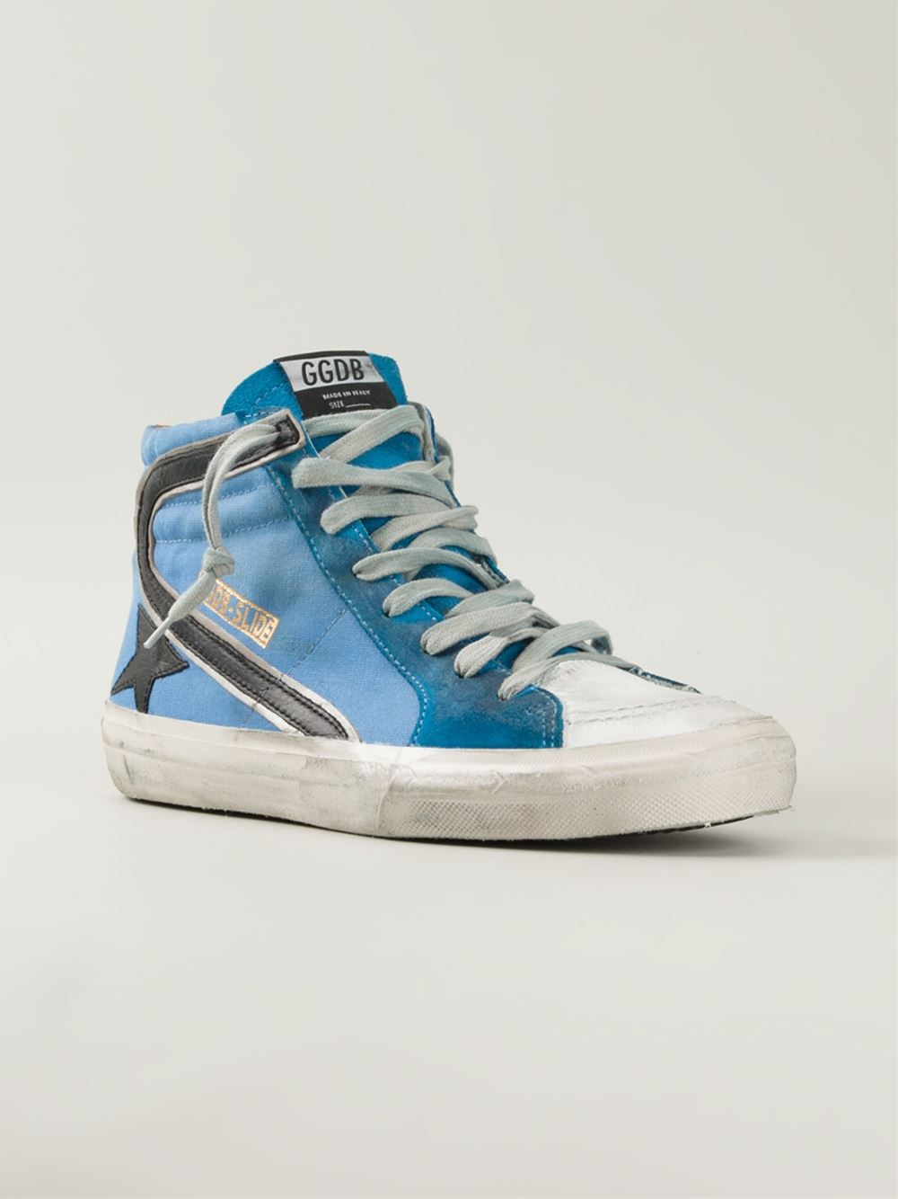 golden goose deluxe brand star stripe high top sneakers in blue for men lyst. Black Bedroom Furniture Sets. Home Design Ideas