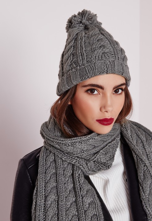 Missguided Cable Knit Hat And Scarf Set Grey in Gray - Lyst 45997d5cdad