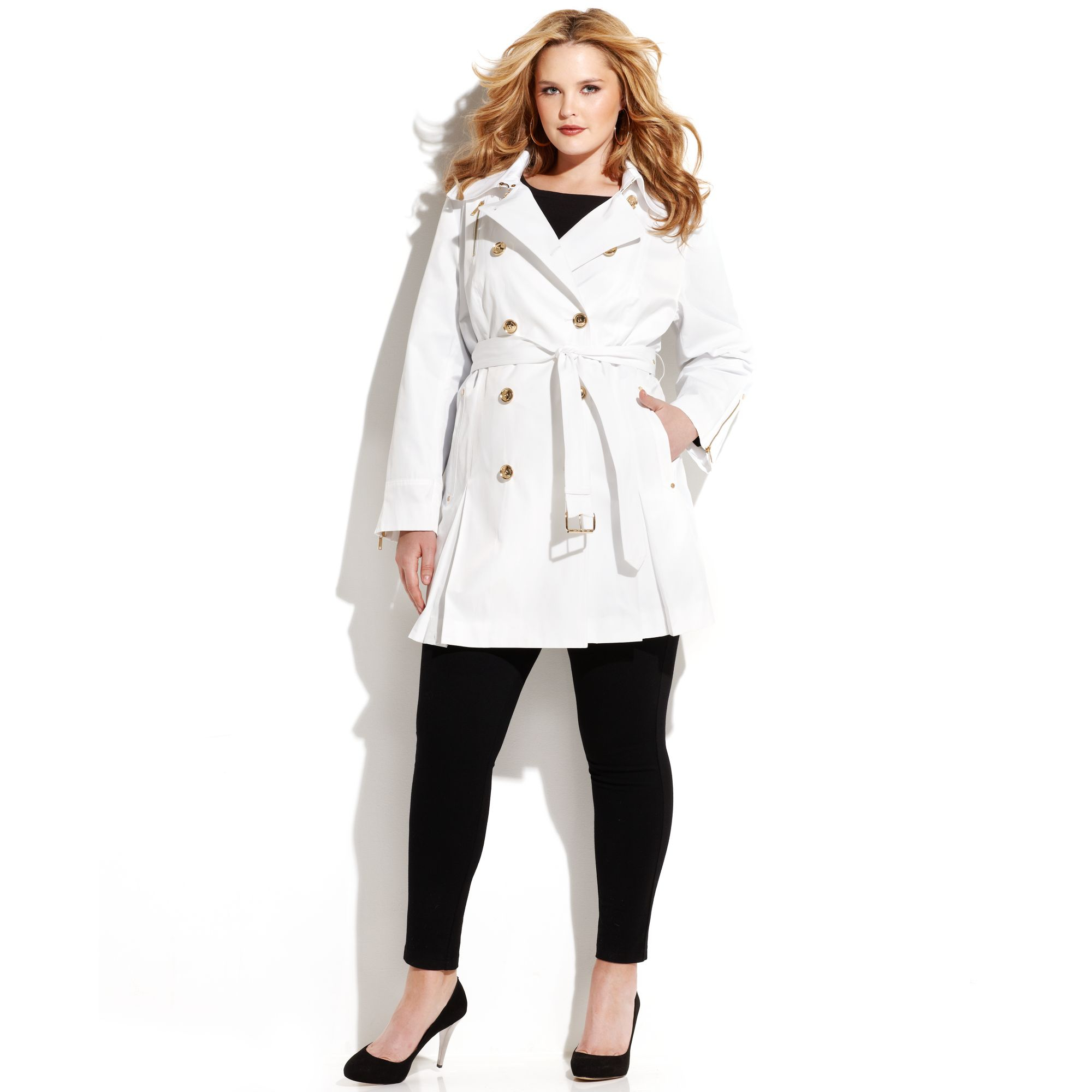Usher in a new season of cool in designer coats and designer jackets. Plush touches, luxe textures, high shine and vivid color are the hautest way to take the cold weather by storm. From classic women's trench coats to studded women's leather jackets, you'll find smart outer layers for every adventure.