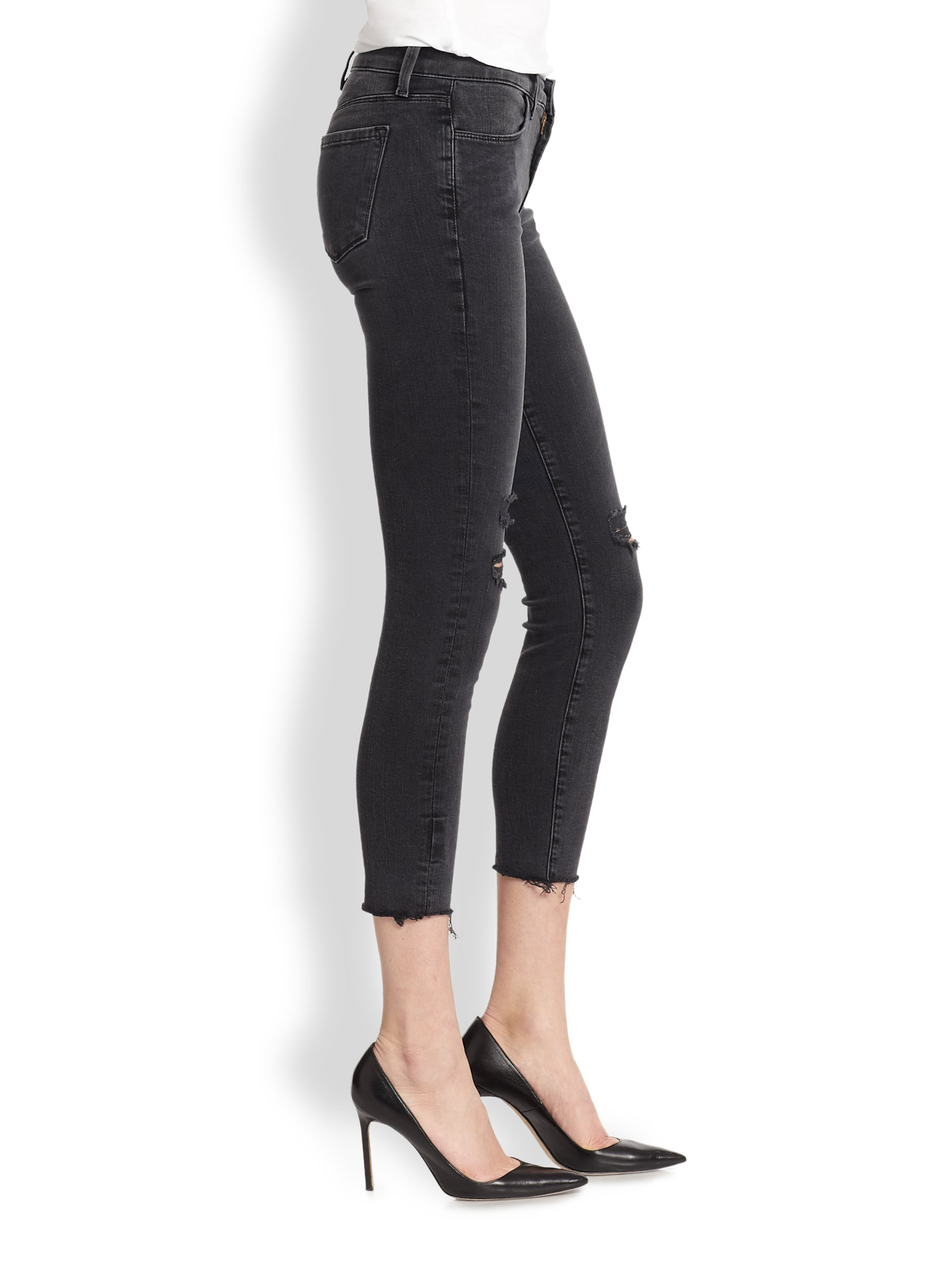 J brand Photoready Distressed Cropped Skinny Jeans in Black | Lyst