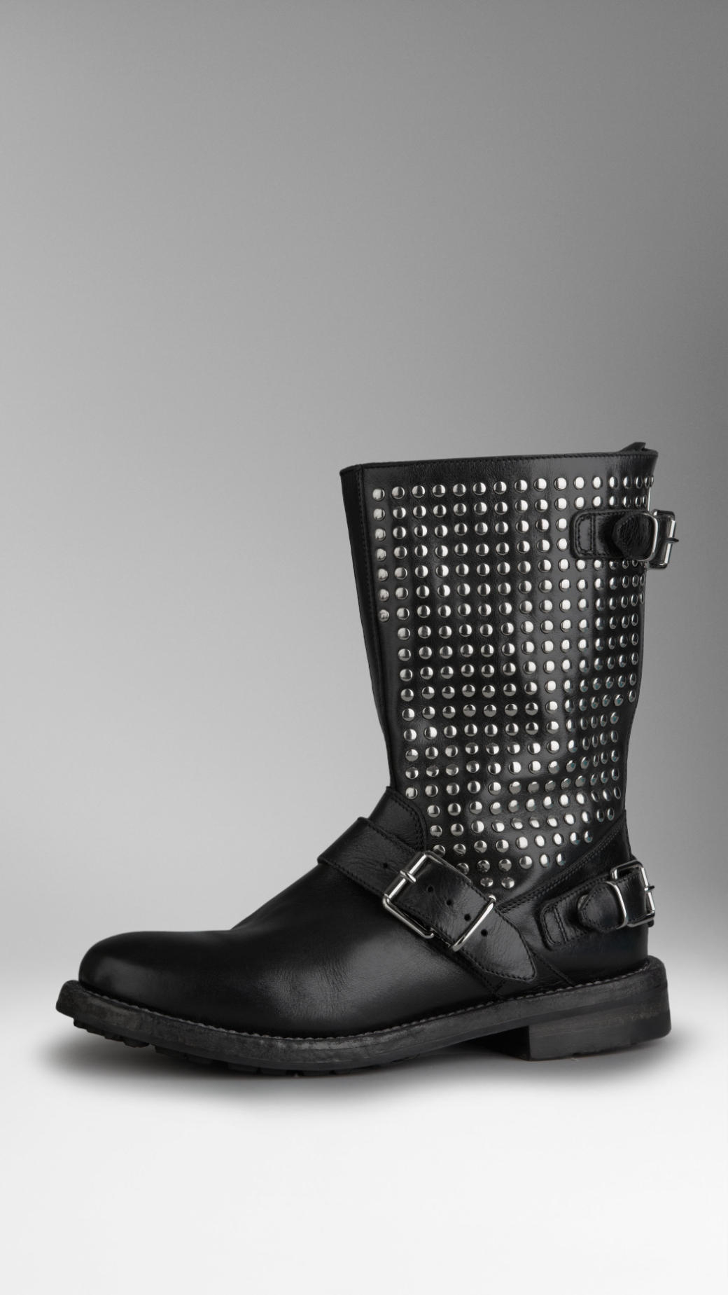 burberry studded leather boots in black lyst