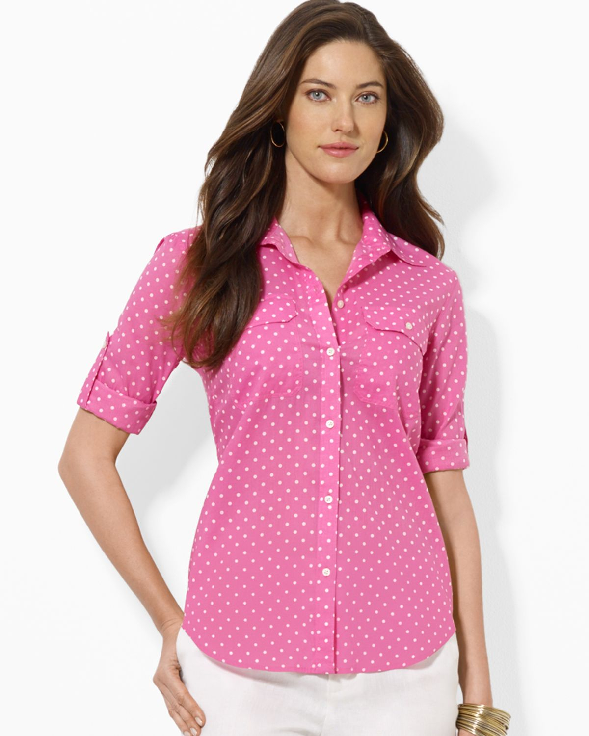 Ralph Lauren Lauren Shirt Polka Dot Button Down In Pink