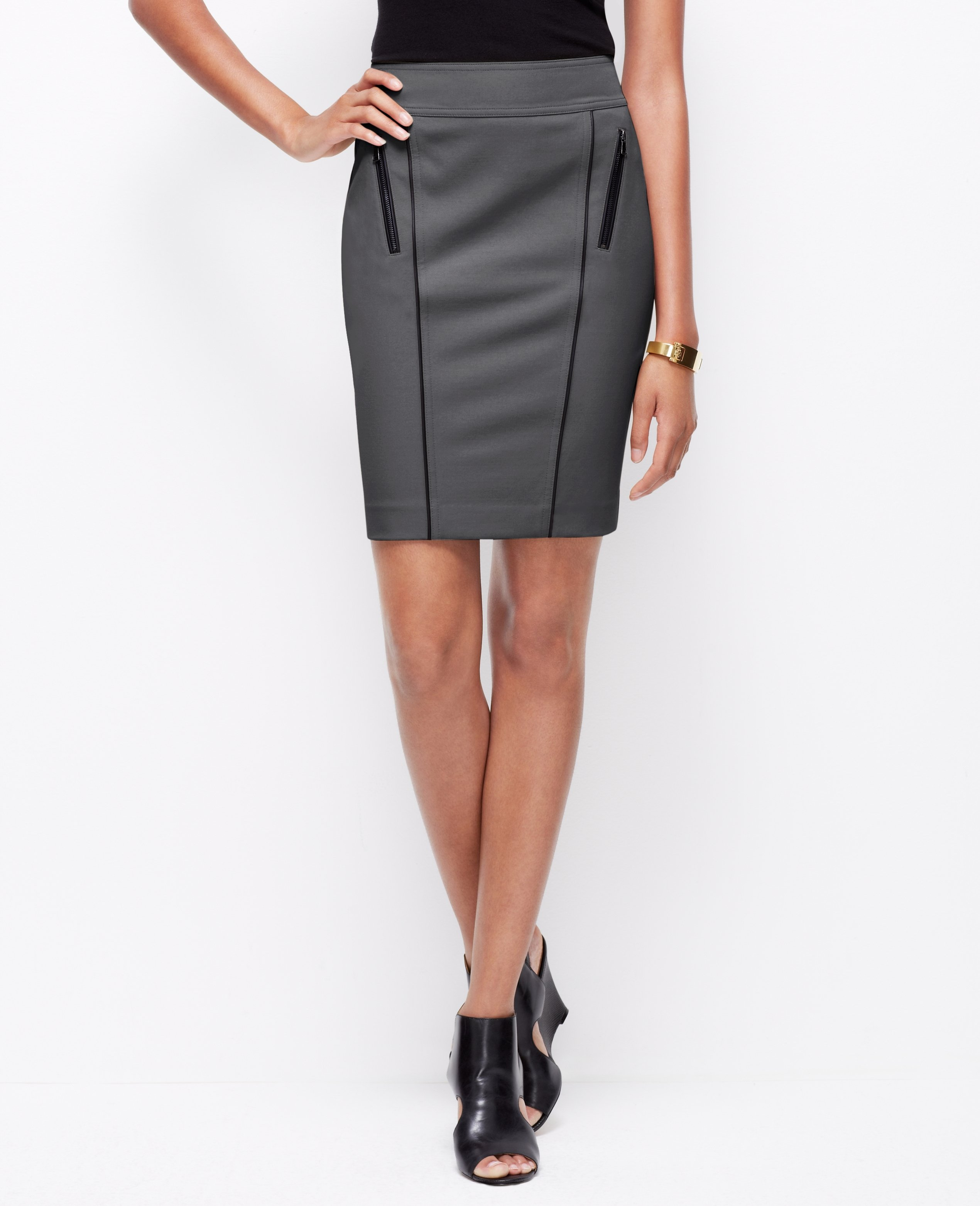 faux leather trim pencil skirt in gray lyst