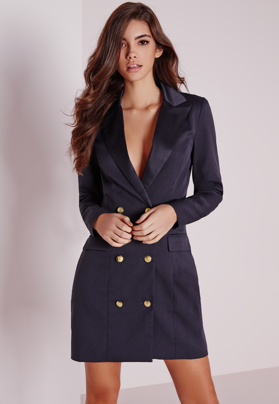 Missguided Long Sleeve Tuxedo Dress Navy in Blue