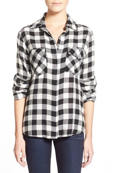 Sam Edelman Check Plaid Sequined Back Tunic Shirt In Black