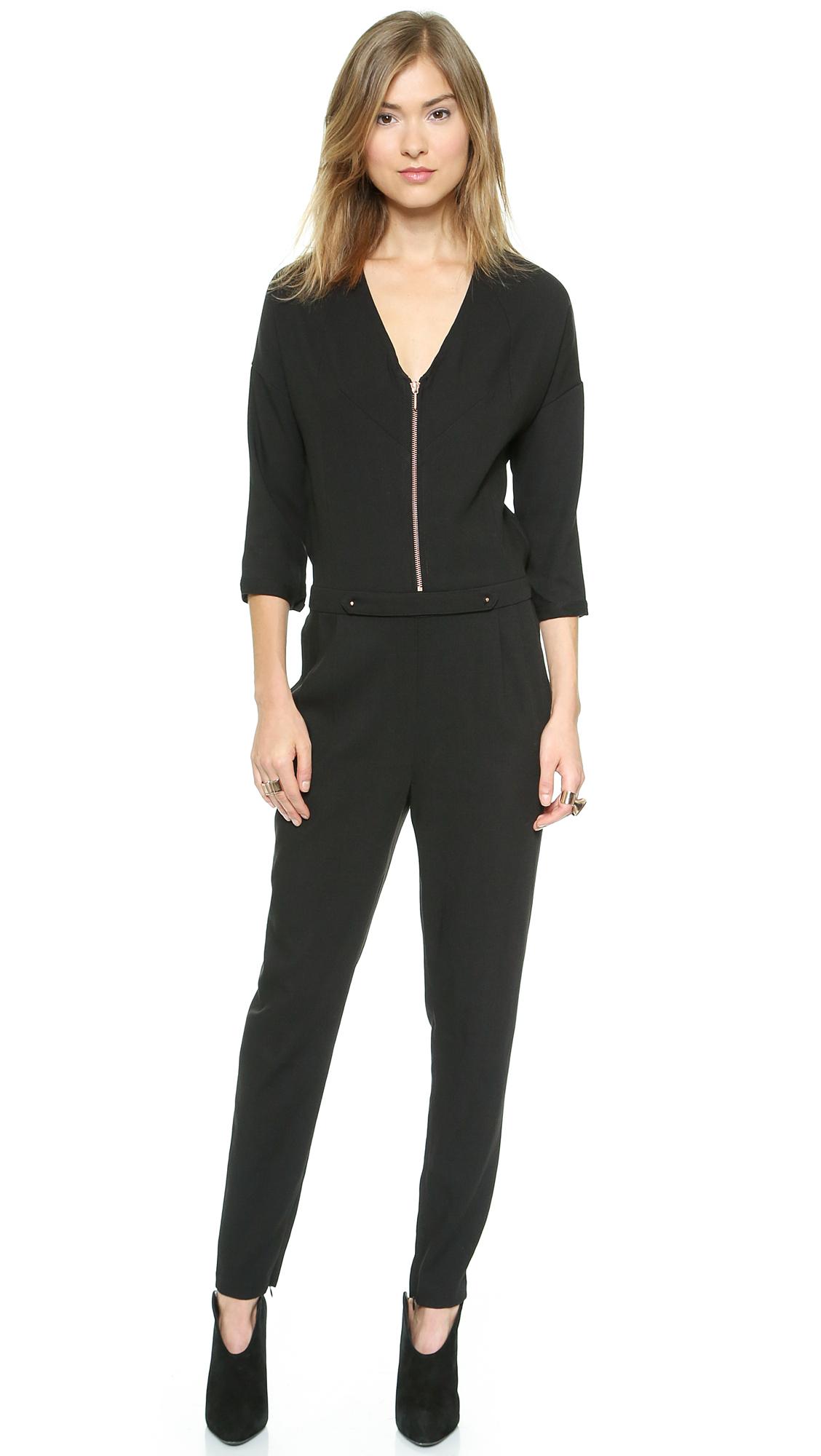 eleven paris faurel jumpsuit black in black lyst. Black Bedroom Furniture Sets. Home Design Ideas