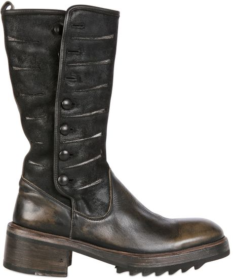 varvatos 55mm tire leather suede boots in black lyst