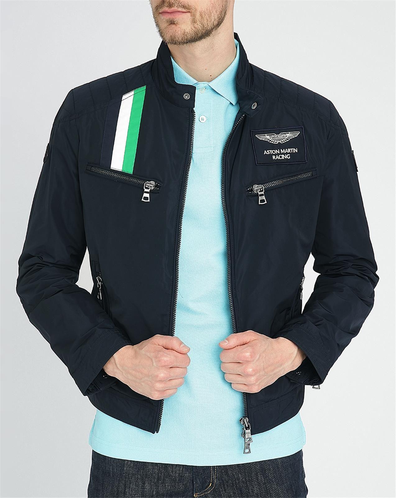 hackett navy aston martin stripe motorbike jacket in blue. Black Bedroom Furniture Sets. Home Design Ideas