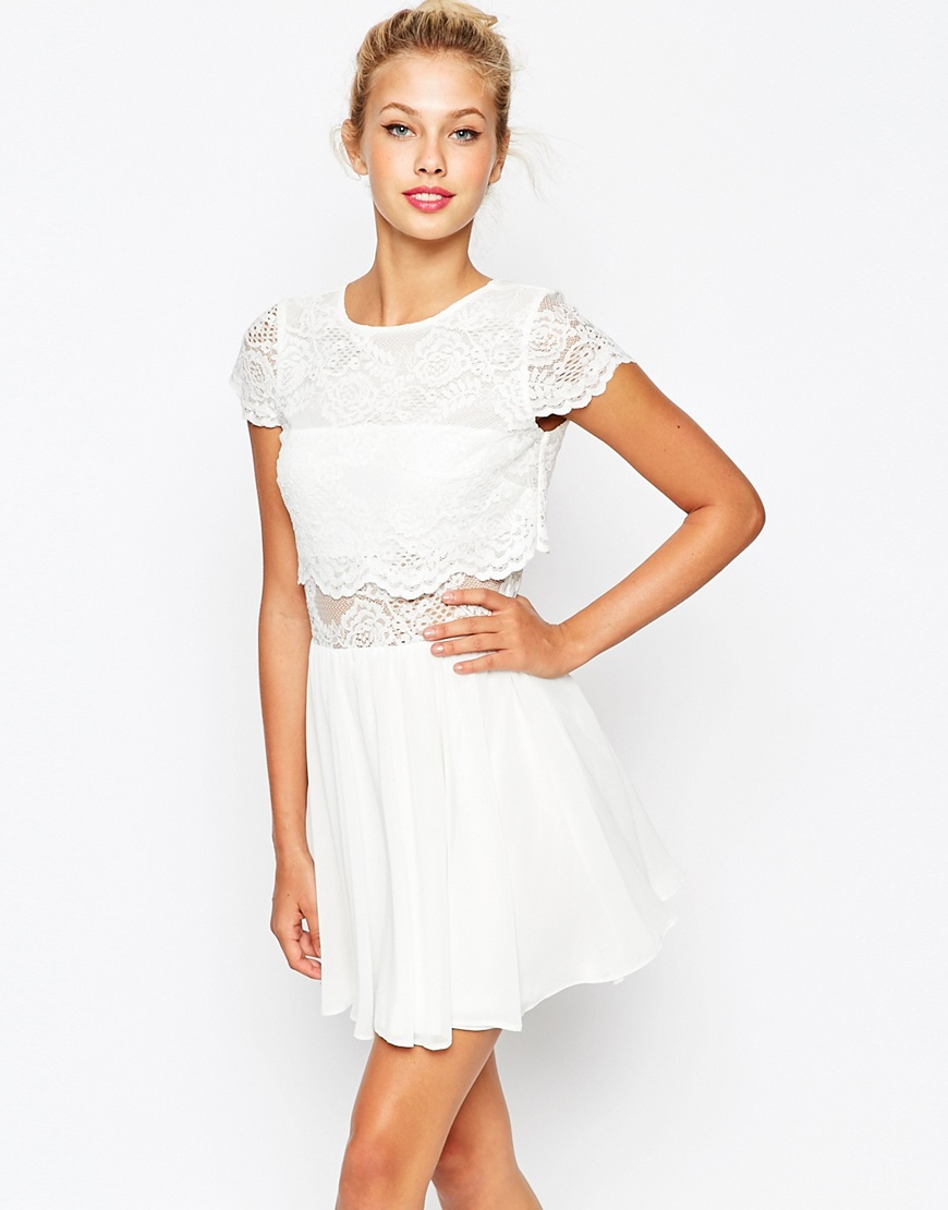 97873f21d378 Lyst - ASOS Lace Crop Top Mini Skater Dress in White