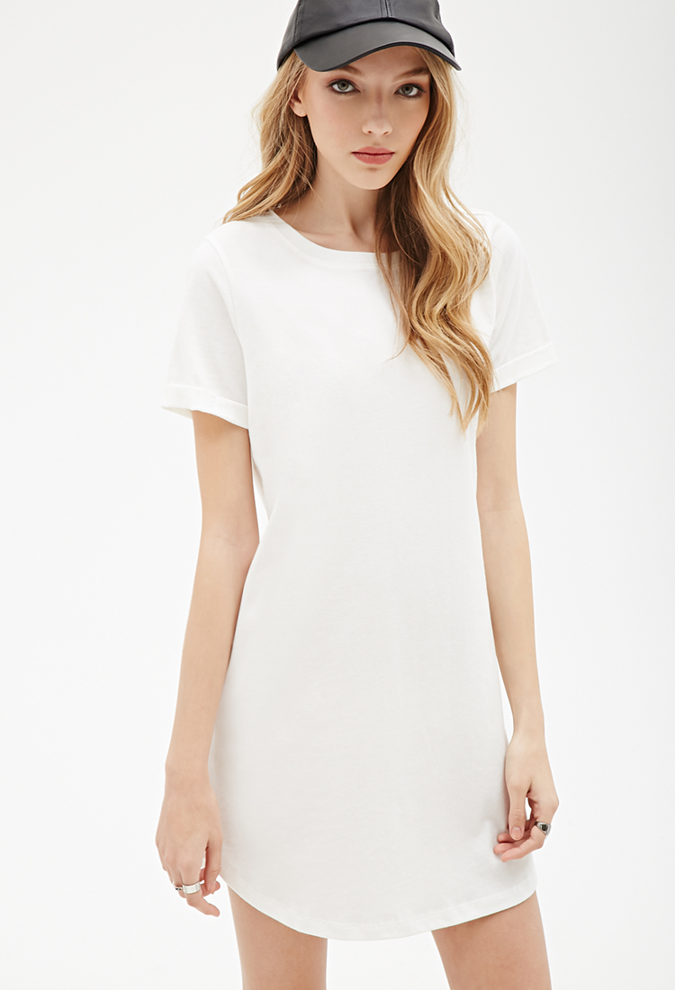 Forever 21 Cuffed-sleeve Tee Shirt Dress in White - Lyst