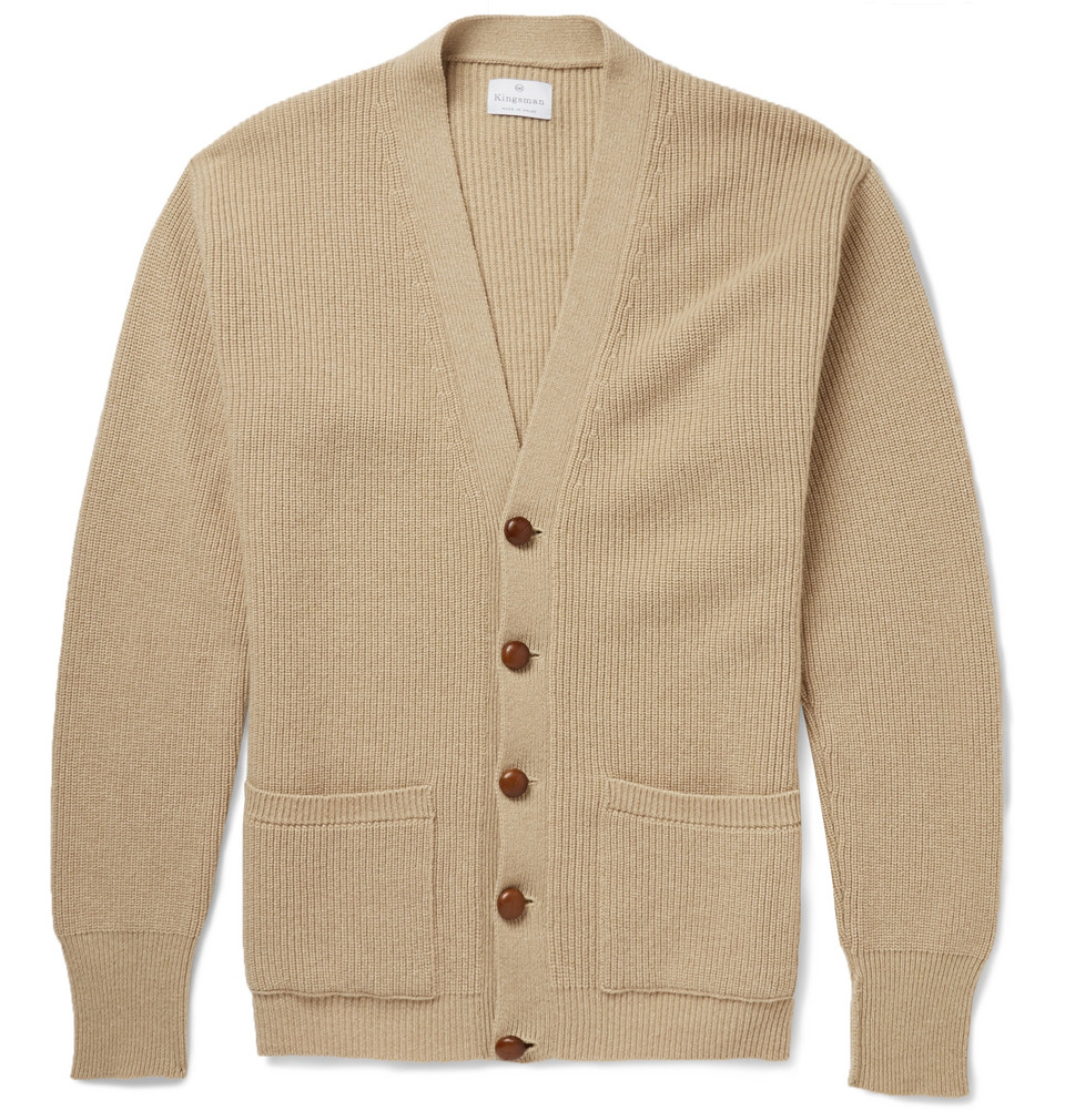Kingsman Chunky-Knit Cashmere Cardigan in Brown for Men | Lyst