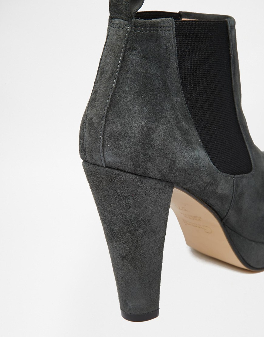 7e94818f5a3 Ganni Fiona Suede Platform Heeled Chelsea Boots in Gray - Lyst