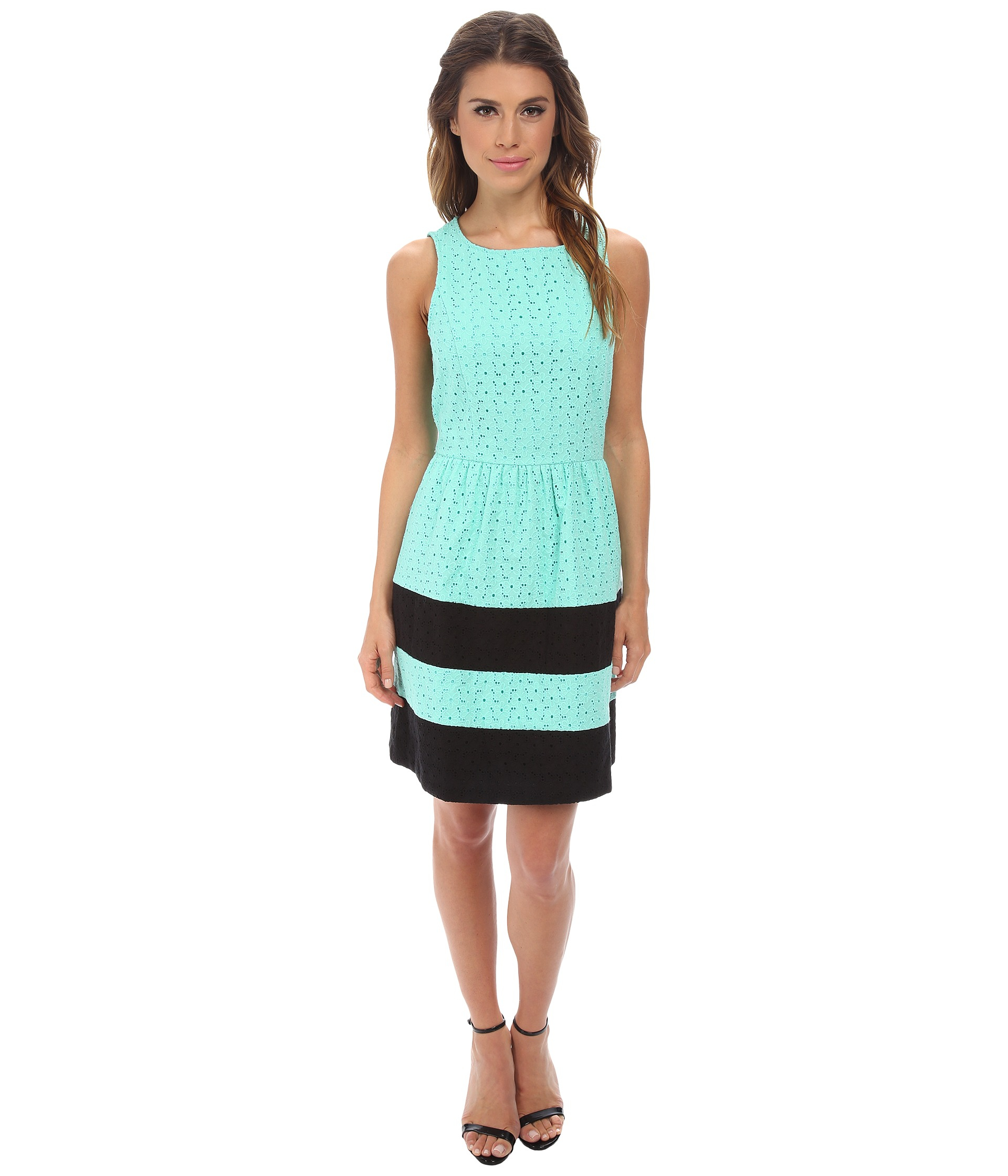 Kensie Stacked Daisy Eyelet Dress Ks2k7422 In Green Lyst