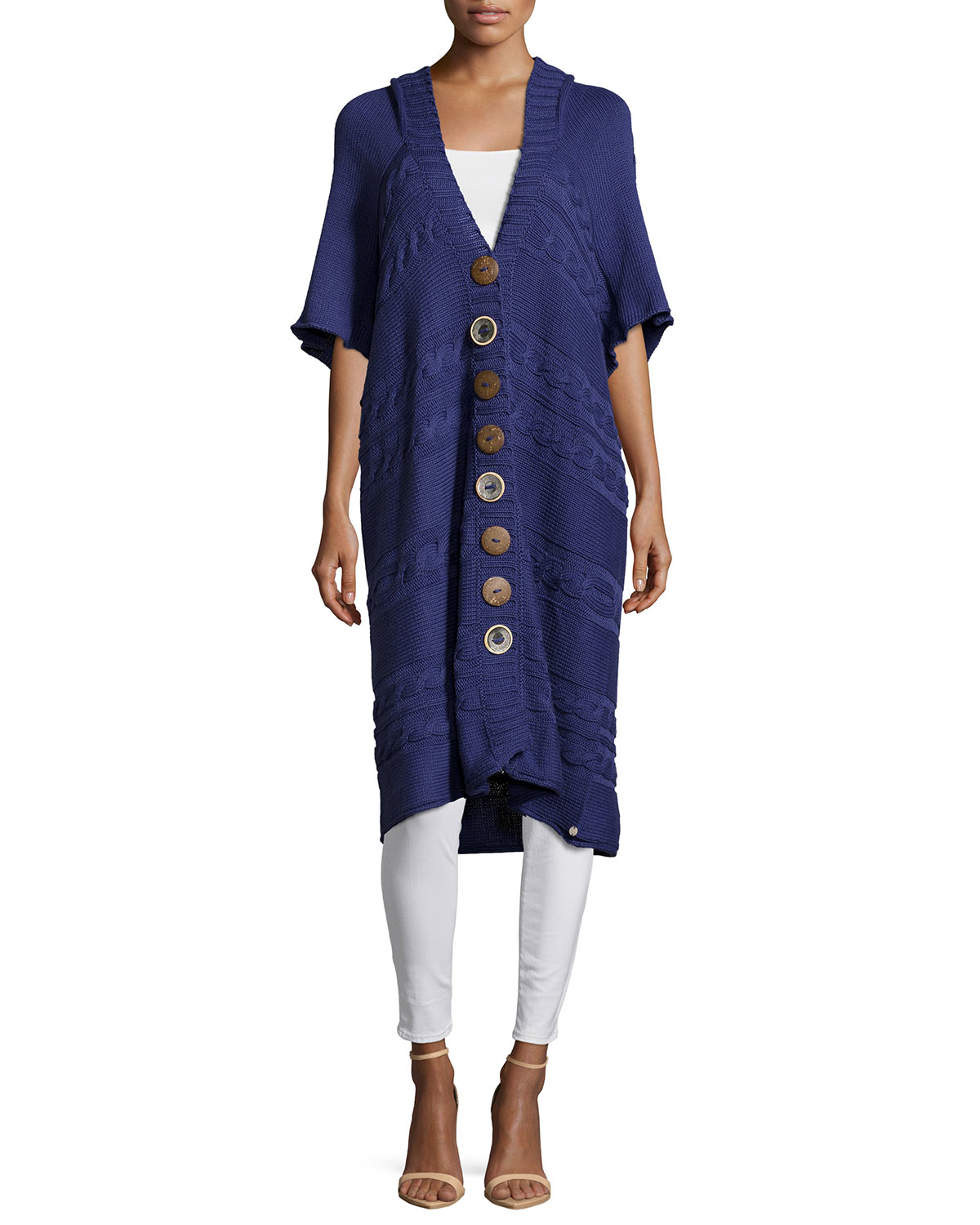 Pure handknit Hooded Short-sleeve Long Cardigan in Blue | Lyst