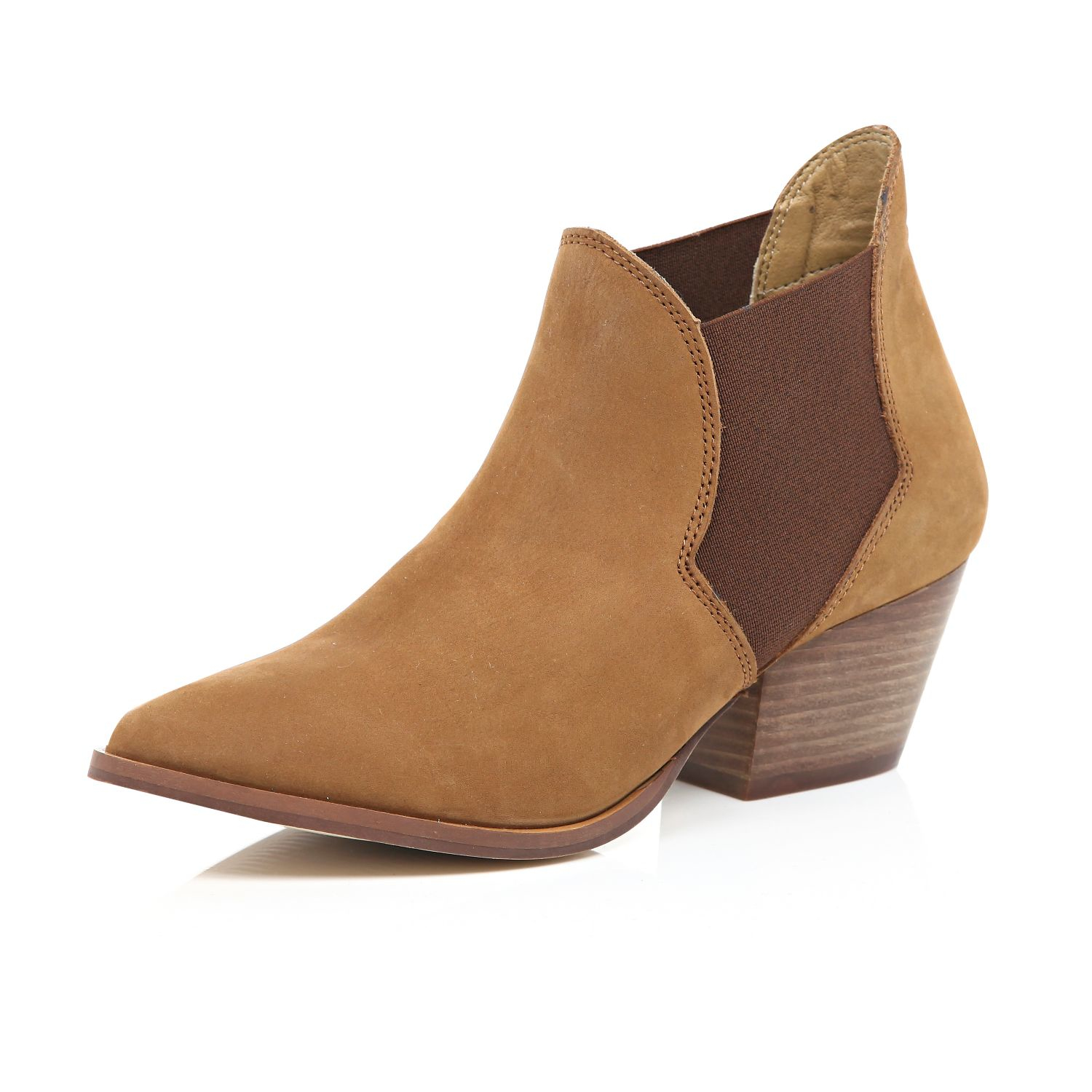 river island brown leather western ankle boots in brown lyst