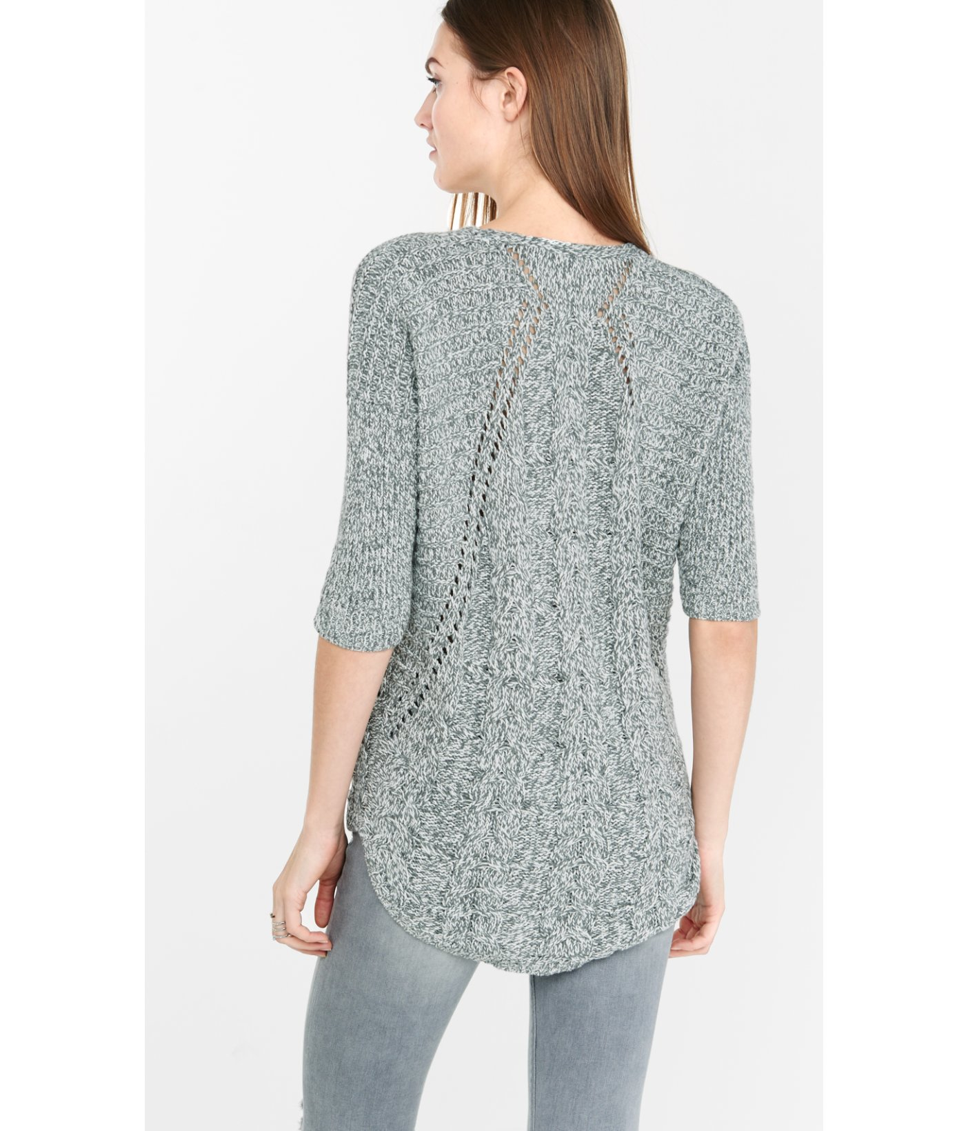Express Marl Cable London Tunic Sweater in Blue | Lyst