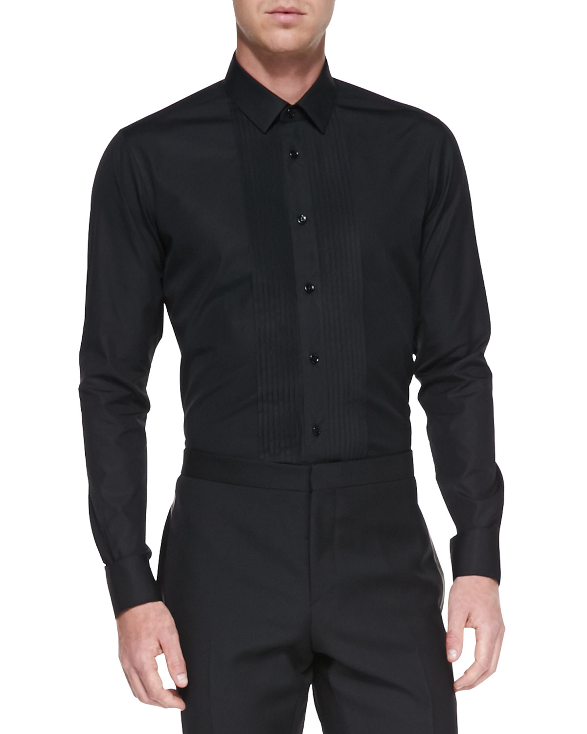 Saint laurent pleatedfront tuxedo shirt black in black for for Black tuxedo shirt for men