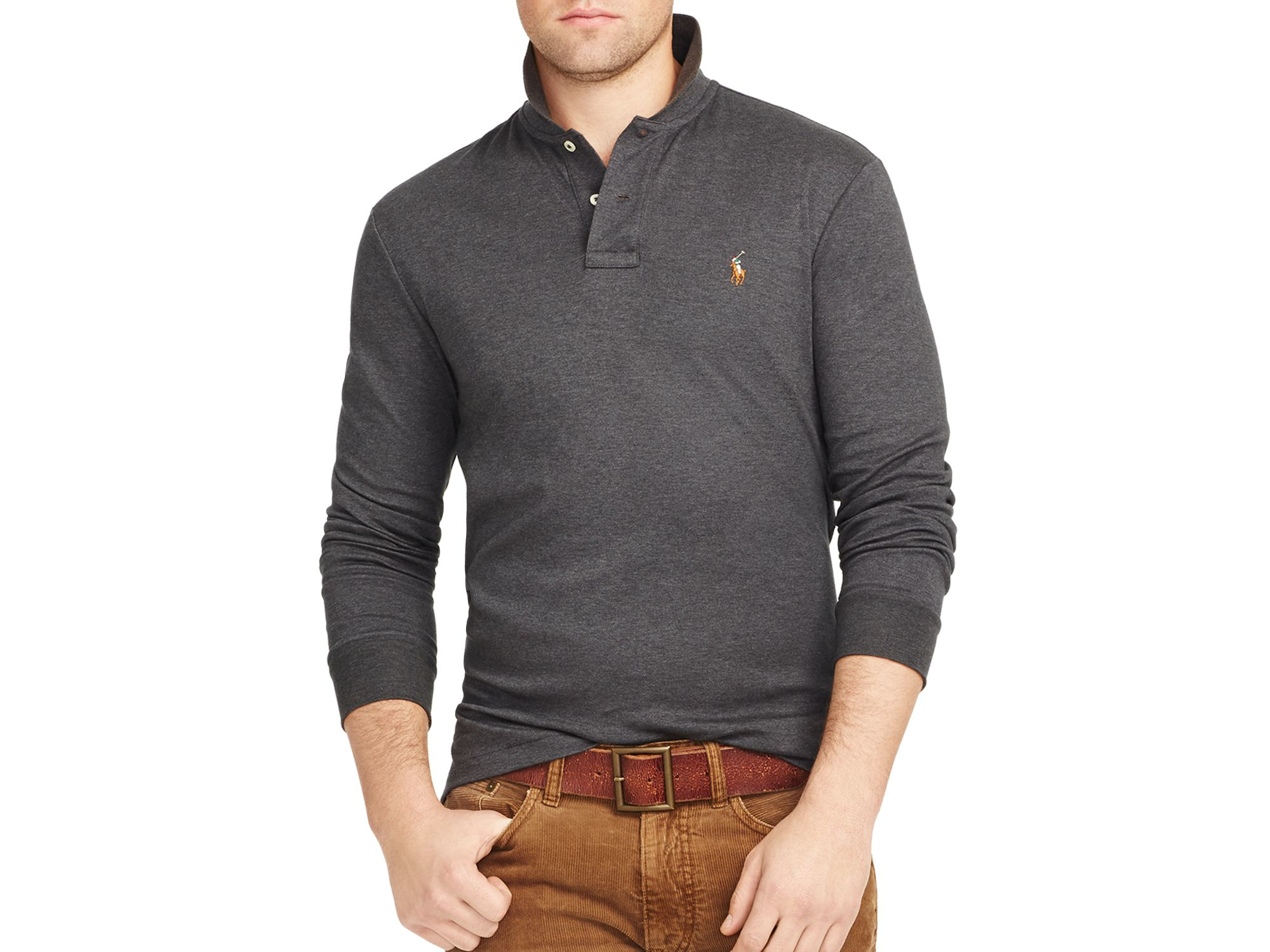 e8db2f7b ... store lyst ralph lauren polo long sleeved pima soft touch polo shirt in  21bce 1f3d0