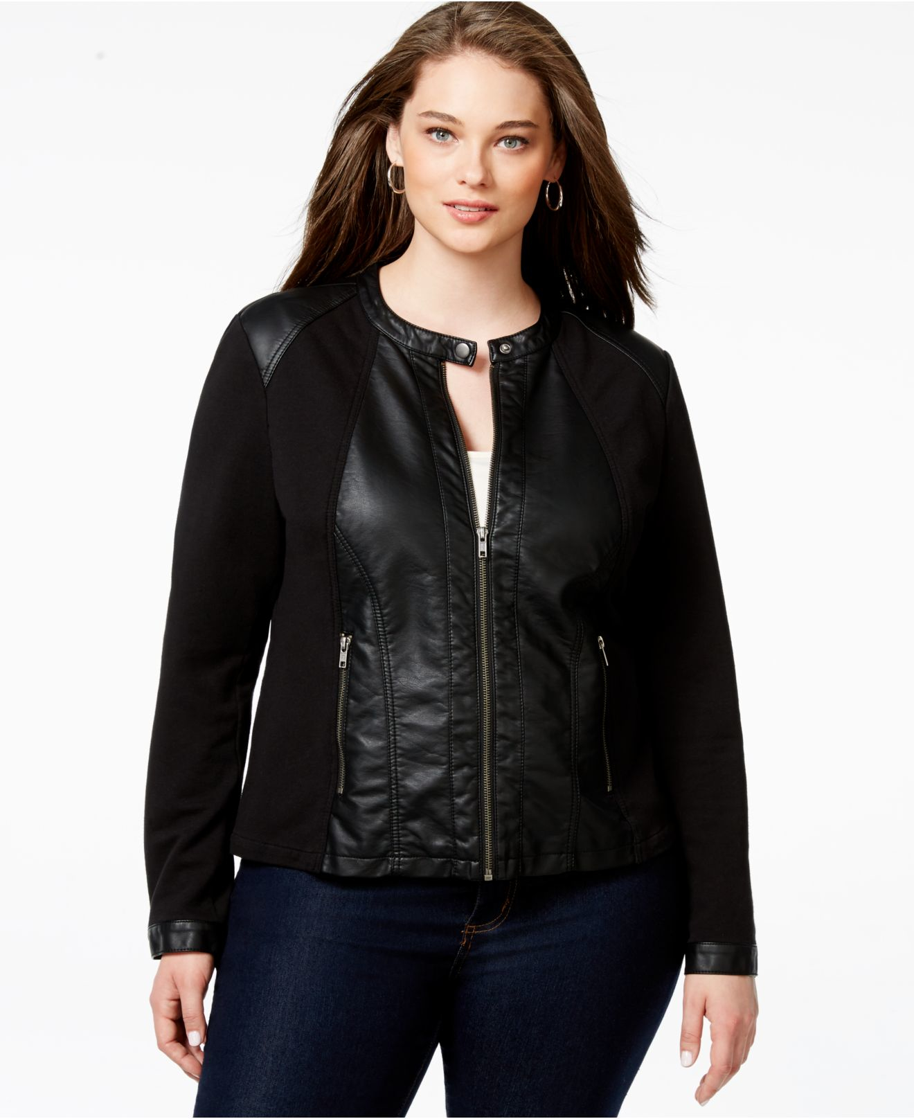 Faux leather jackets plus size