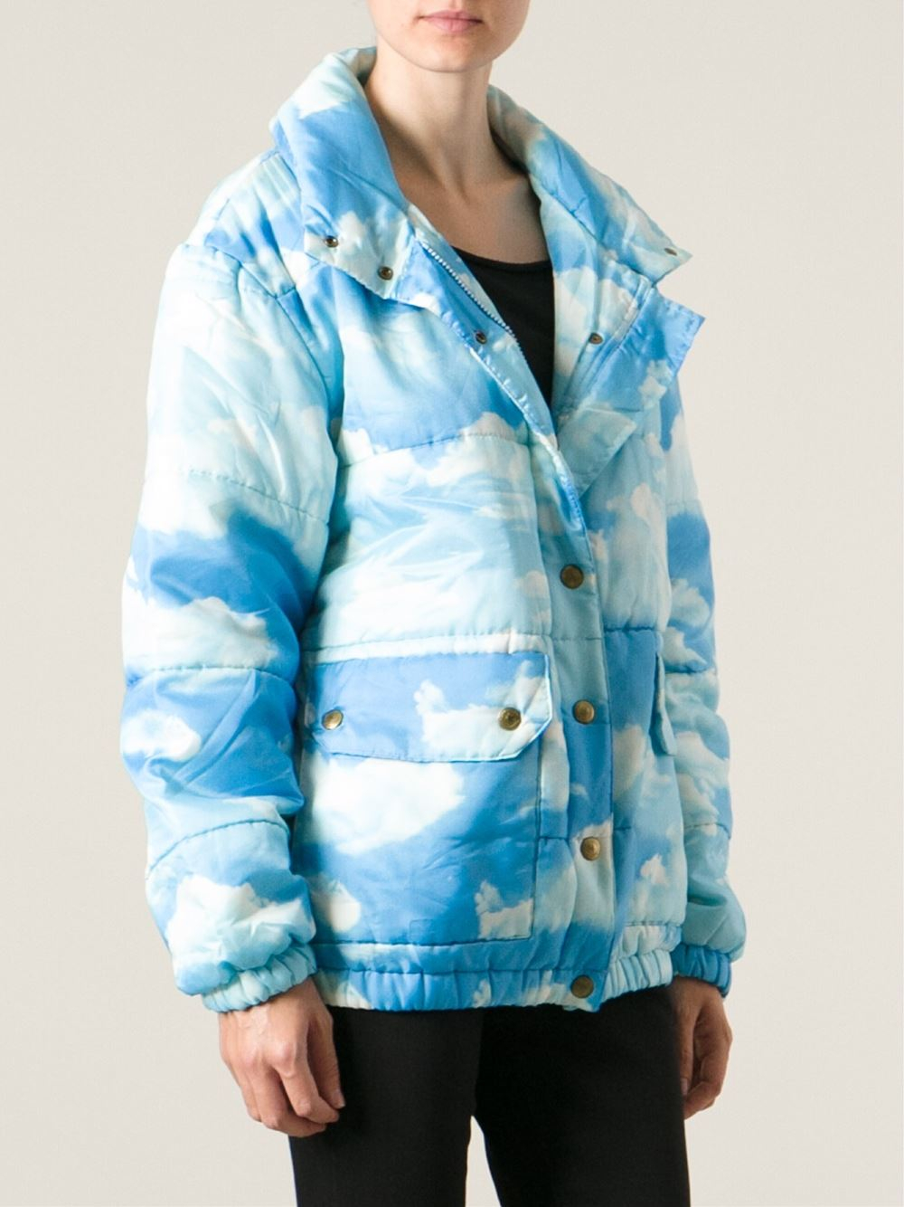 Lyst Moschino Cloud Print Padded Jacket In Blue