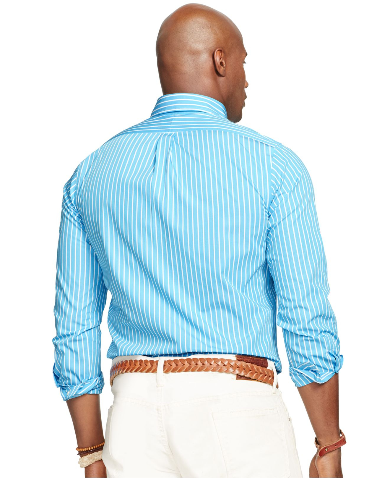 Lyst polo ralph lauren big and tall poplin striped long for Big and tall long sleeve shirts