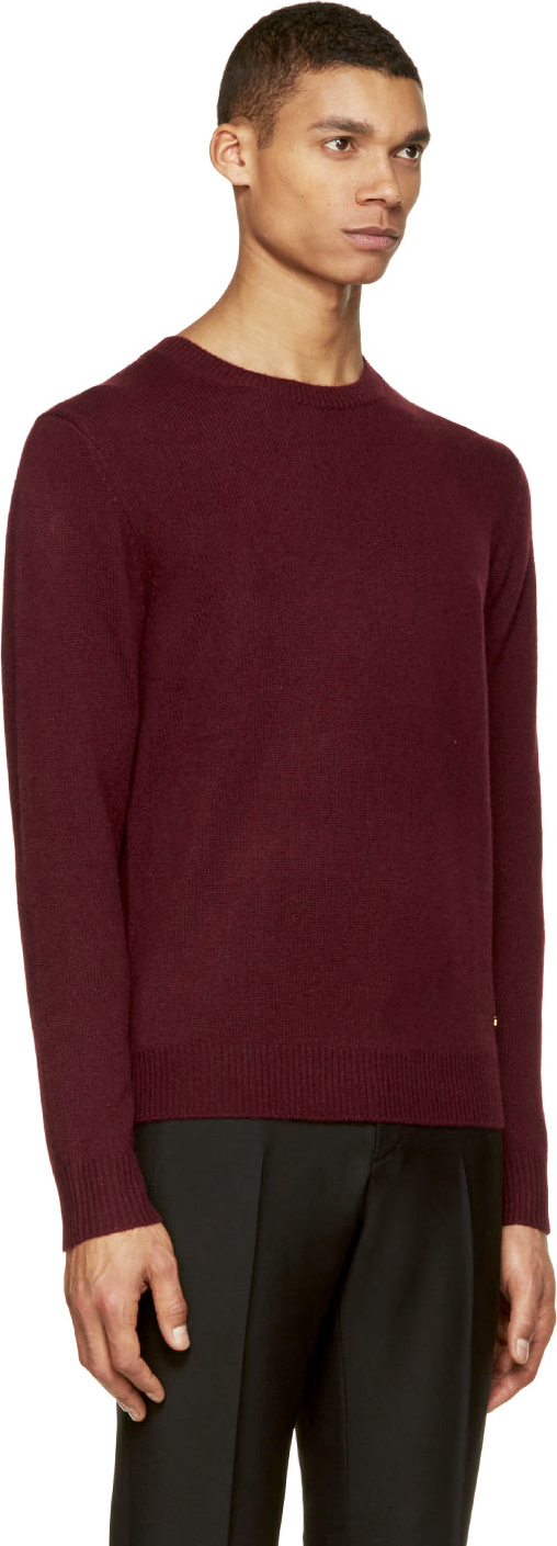 Burberry Burgundy Cashmere Sweater in Purple for Men | Lyst