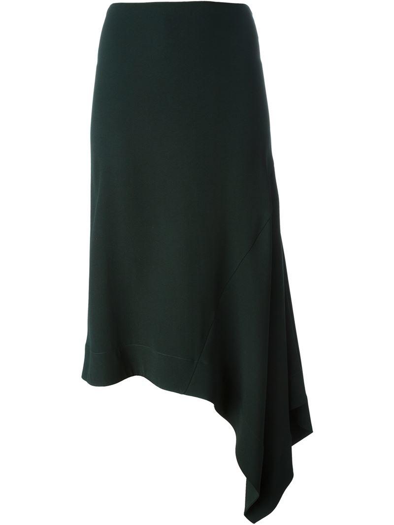 marni asymmetric midi skirt in green lyst