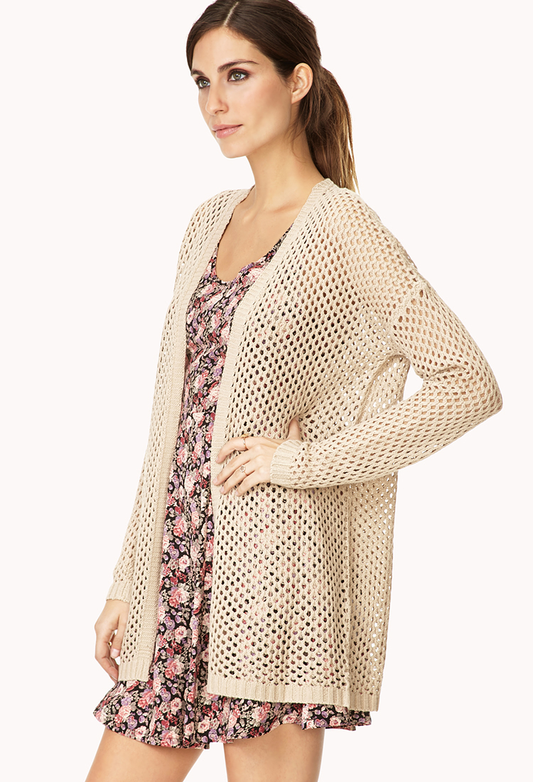 Forever 21 Easy Open-Knit Cardigan in Natural Lyst