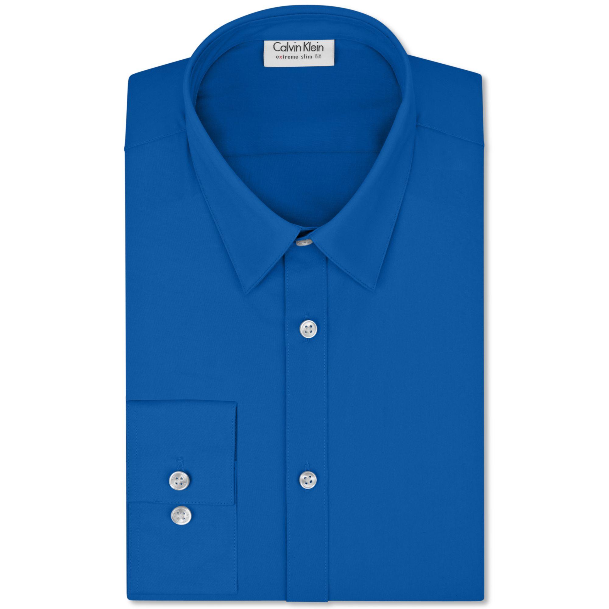 Calvin klein x extra slim fit solid dress shirt in blue for Men s extra slim fit dress shirts
